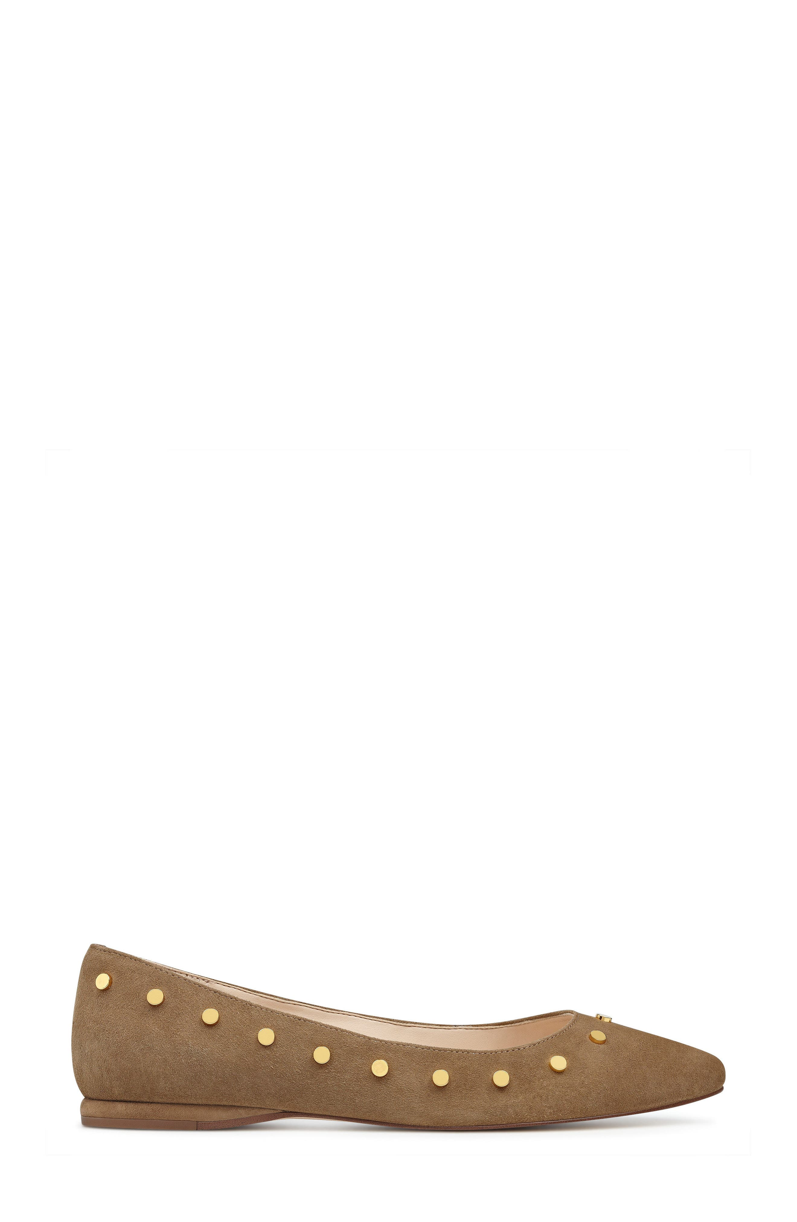 Sigismonda Studded Flat,                             Alternate thumbnail 3, color,                             Green Suede