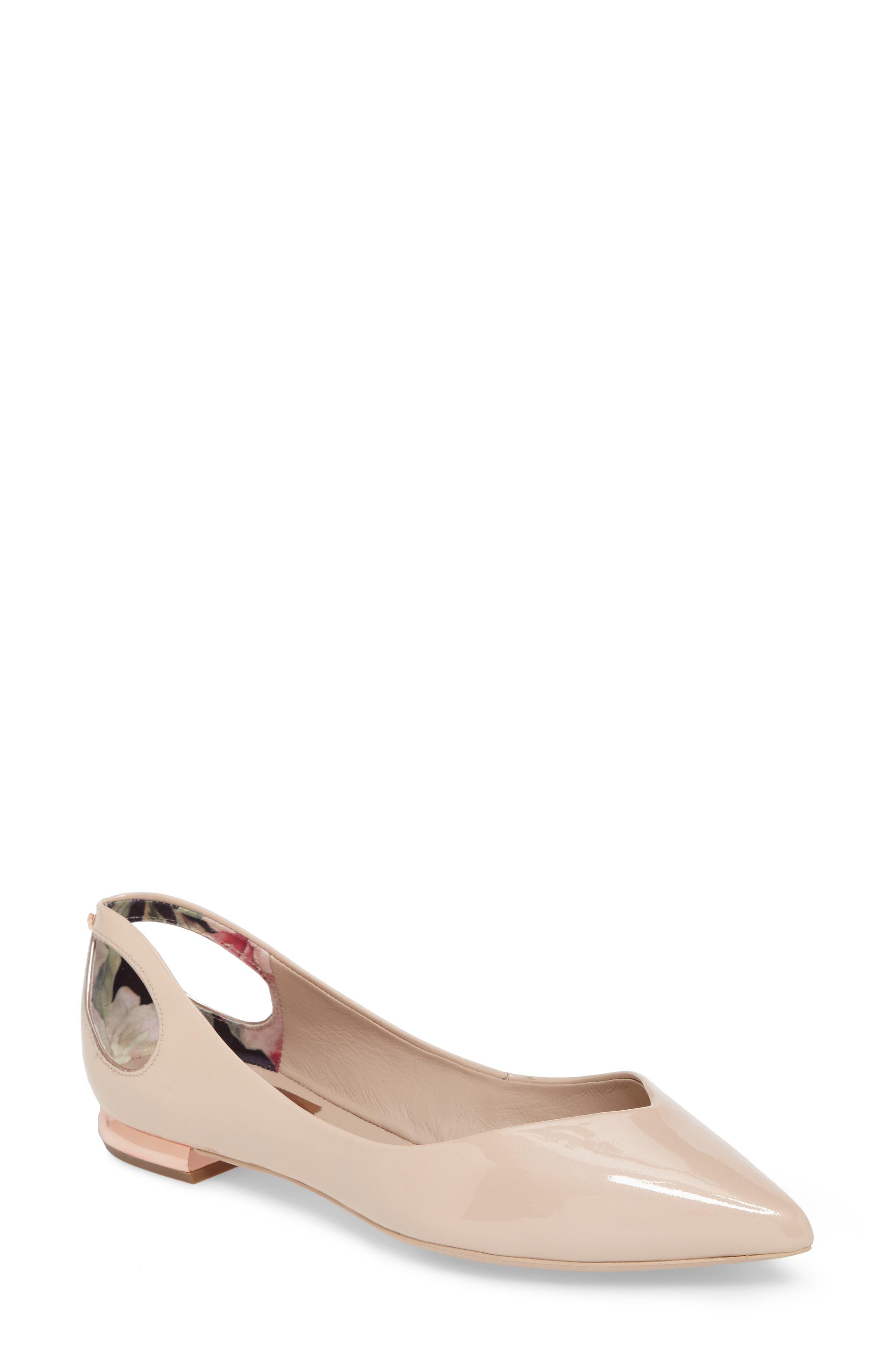 Ted Baker London Dabih Cutout Pointy Toe Flat (Women)