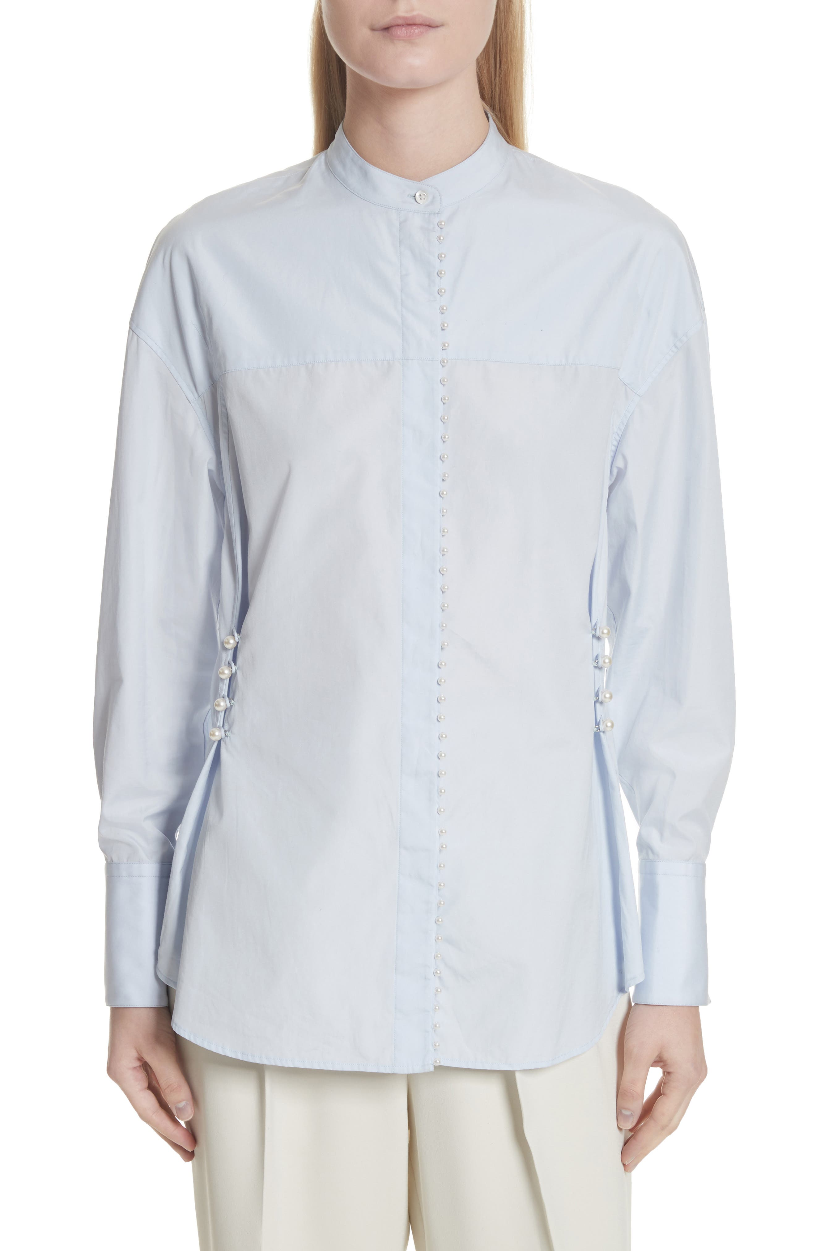 3.1 Phillip Lim Faux Pearl Button Cotton Blouse