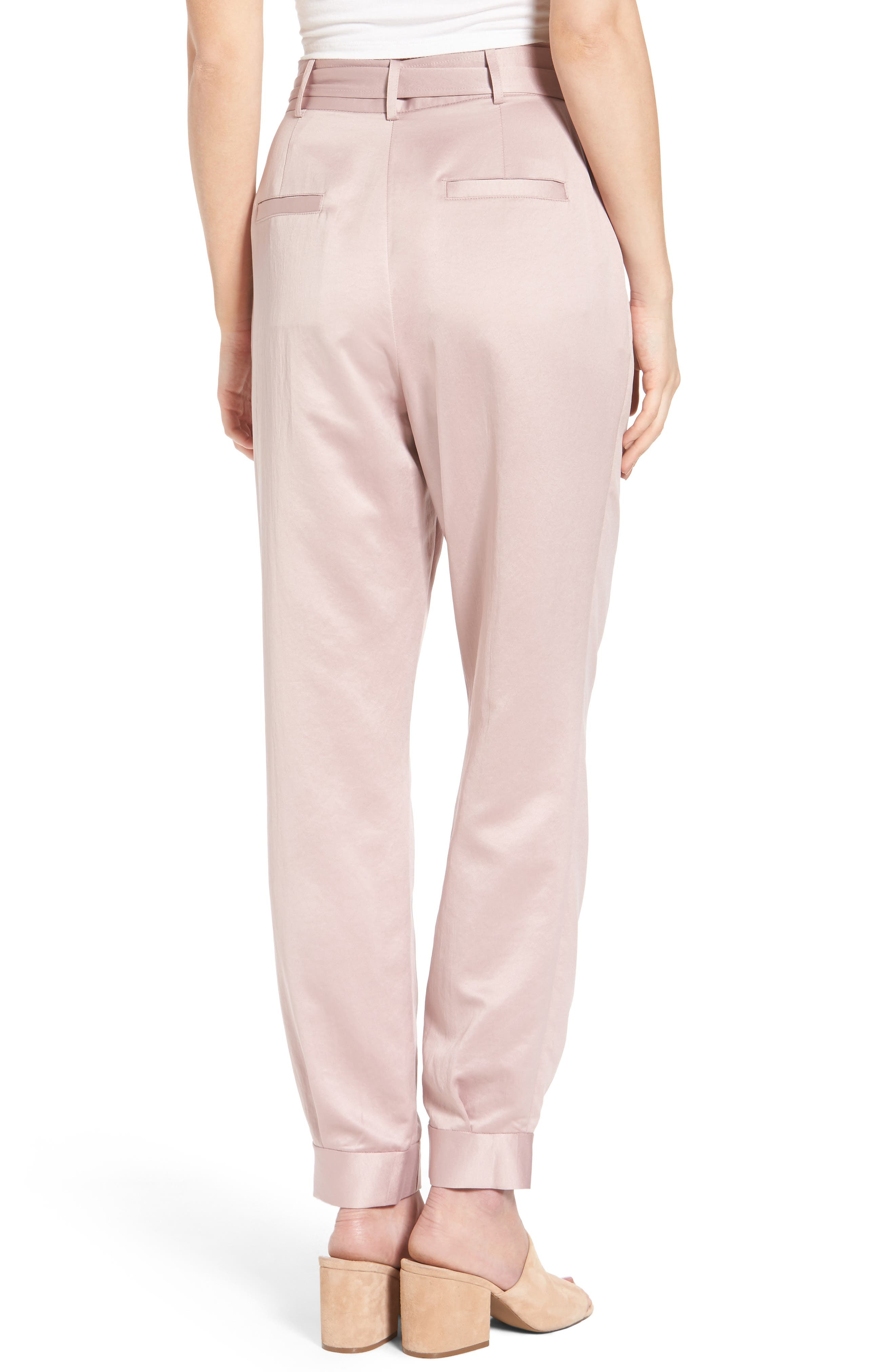 Tie Waist Satin Pants,                             Alternate thumbnail 2, color,                             Pink Adobe