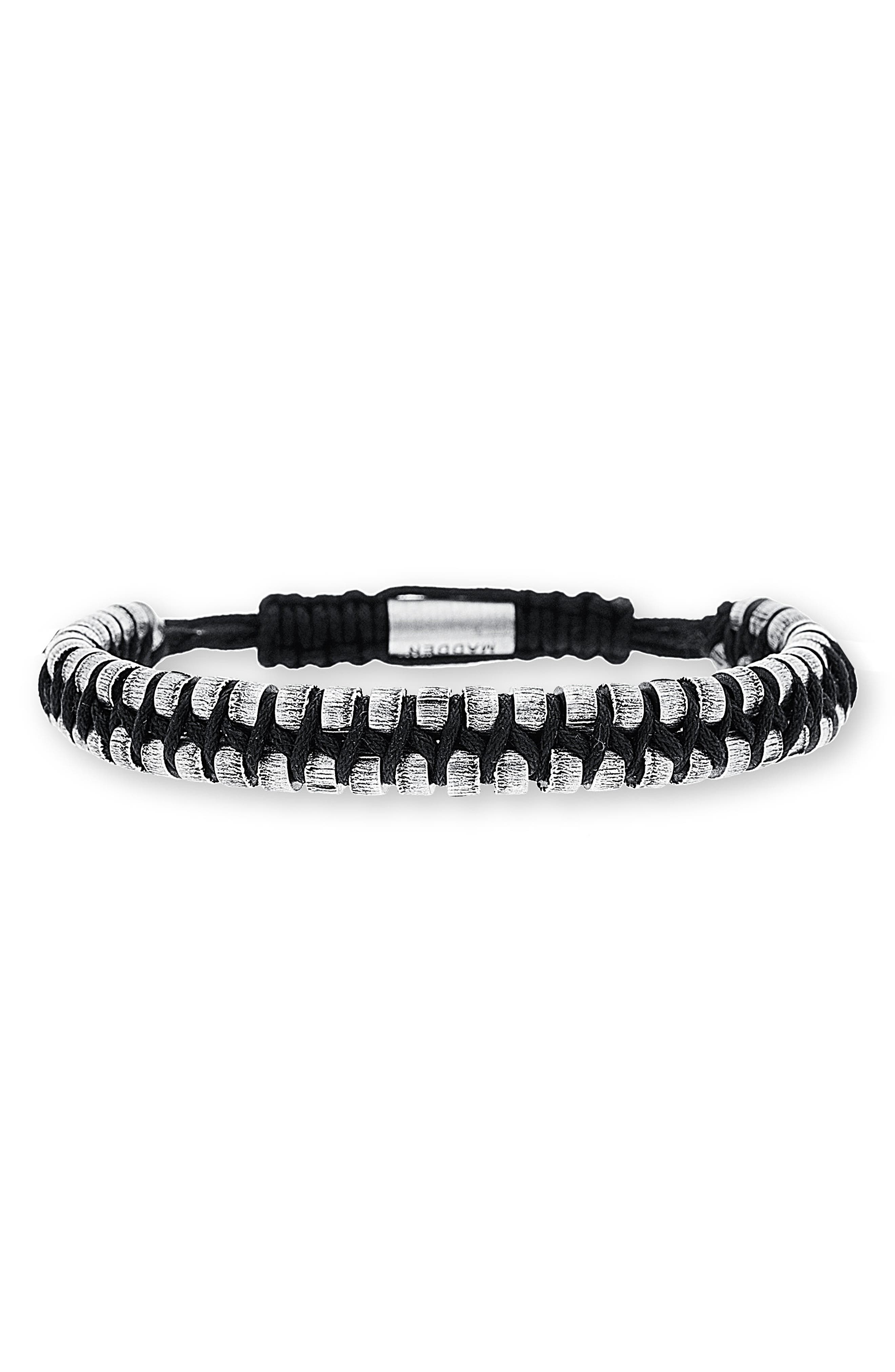 'Rondelle' Cord Bracelet,                             Main thumbnail 1, color,                             Black