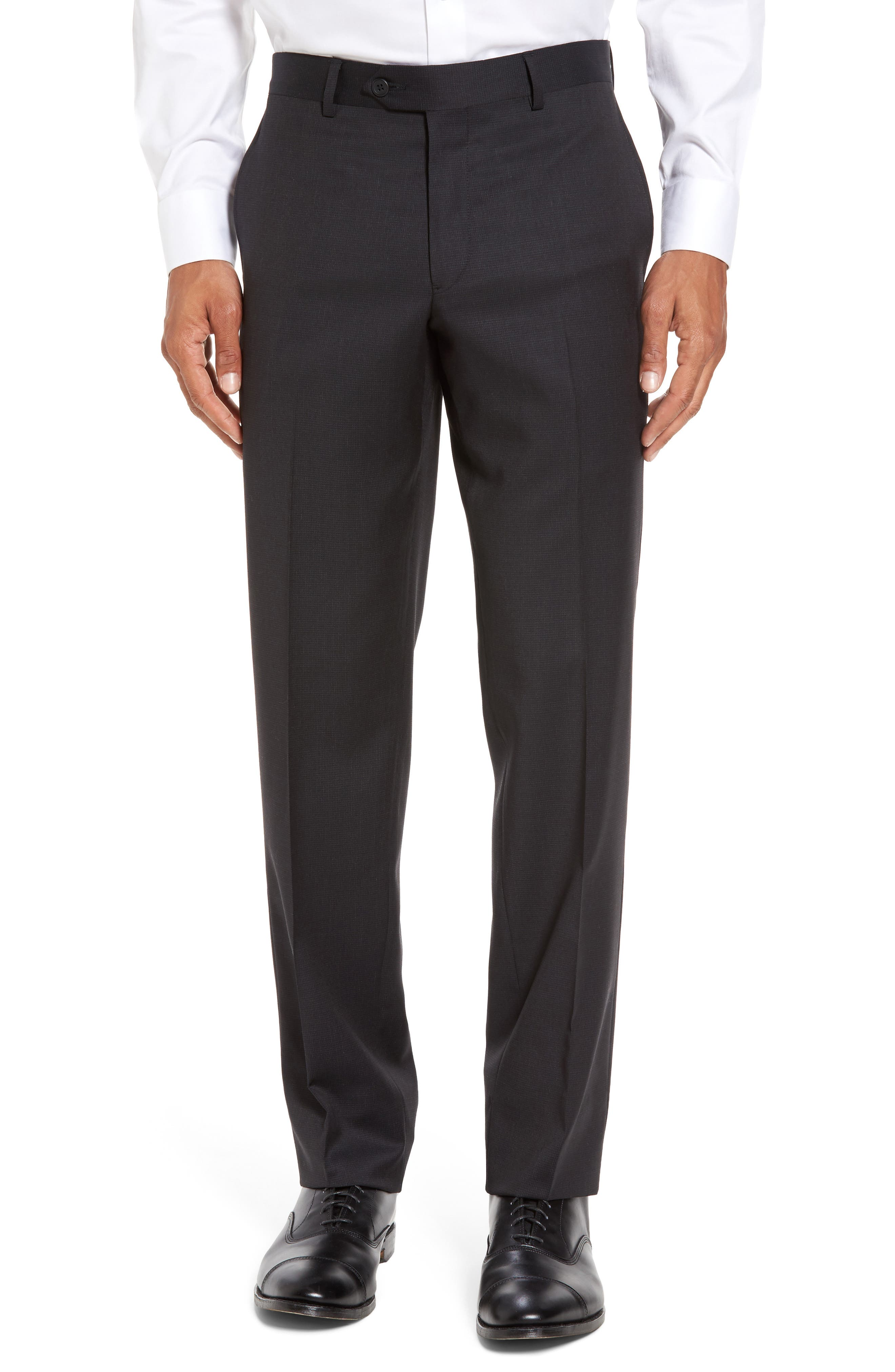 Nordstrom Flat Front Check Wool Trousers
