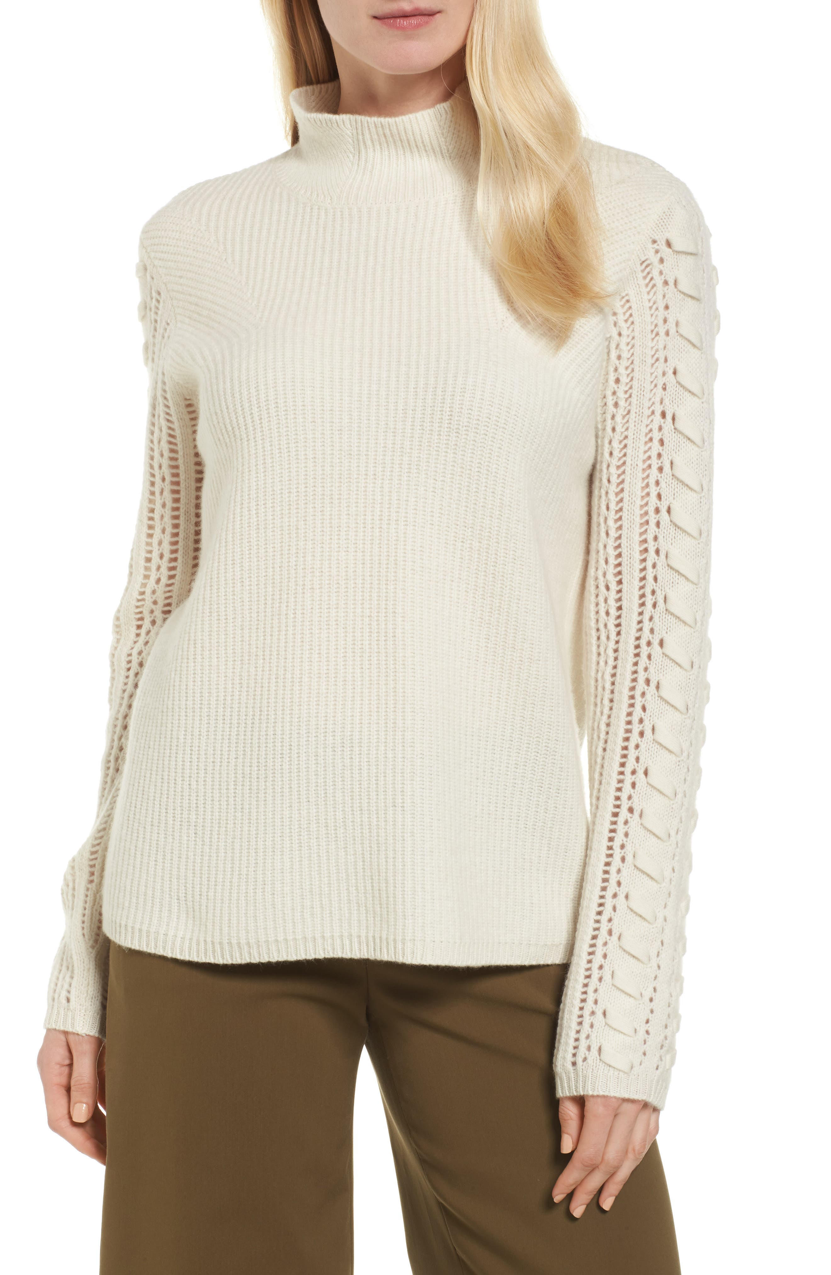 Mixed Stitch Cashmere Sweater,                         Main,                         color, Ivory