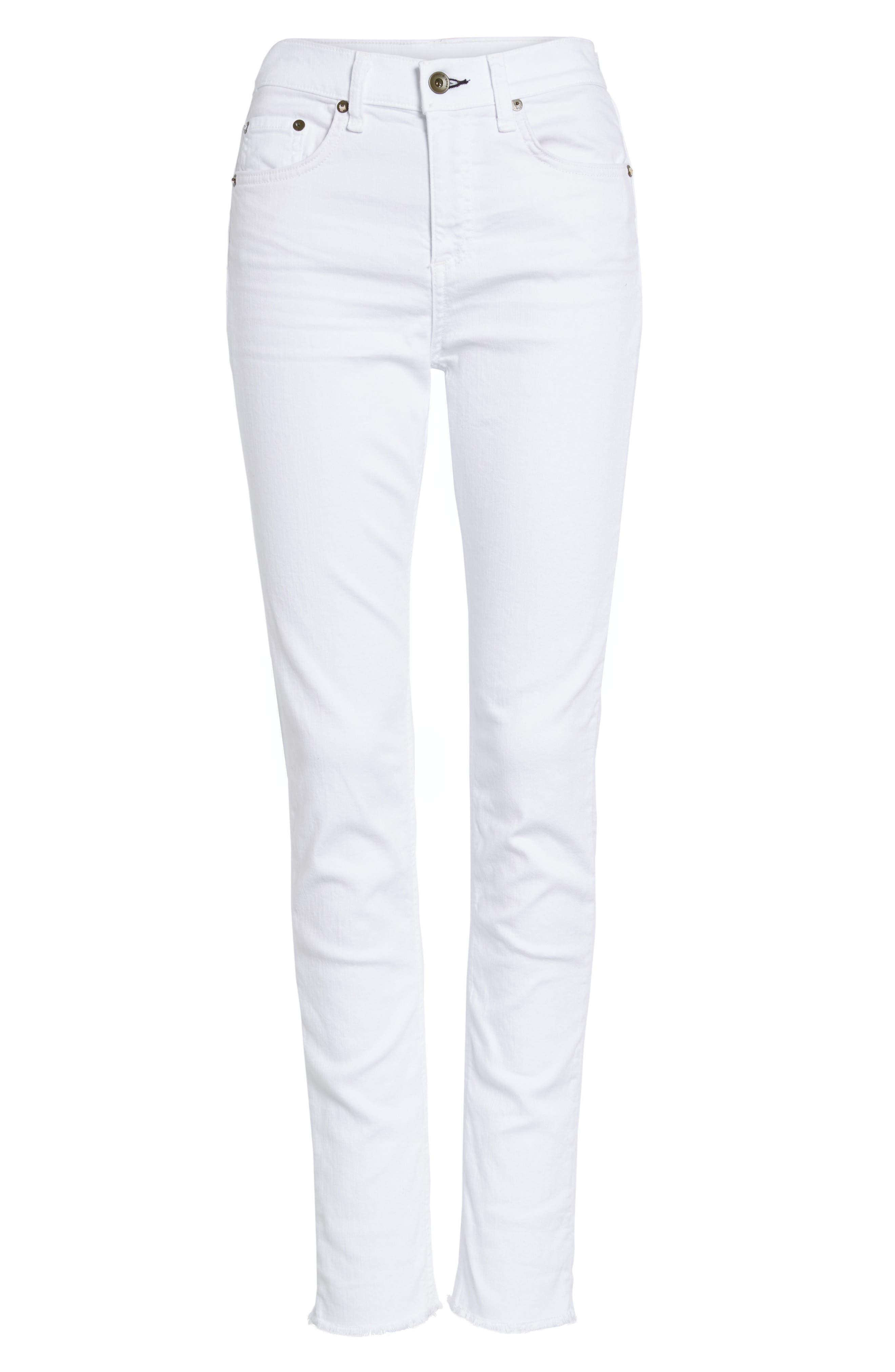 High Waist Step Hem Slim Boyfriend Jeans,                             Alternate thumbnail 5, color,                             Aged Bright White