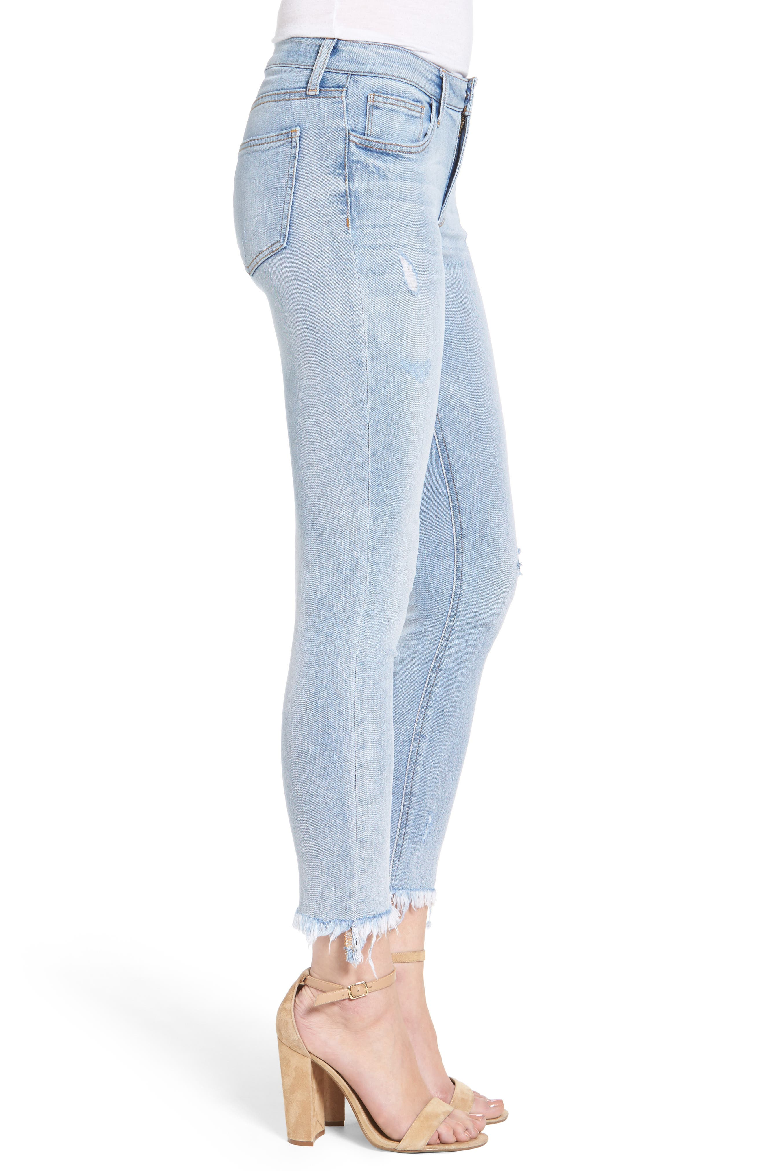 Frayed Hem Ankle Skinny Jeans,                             Alternate thumbnail 4, color,                             Denim Blue
