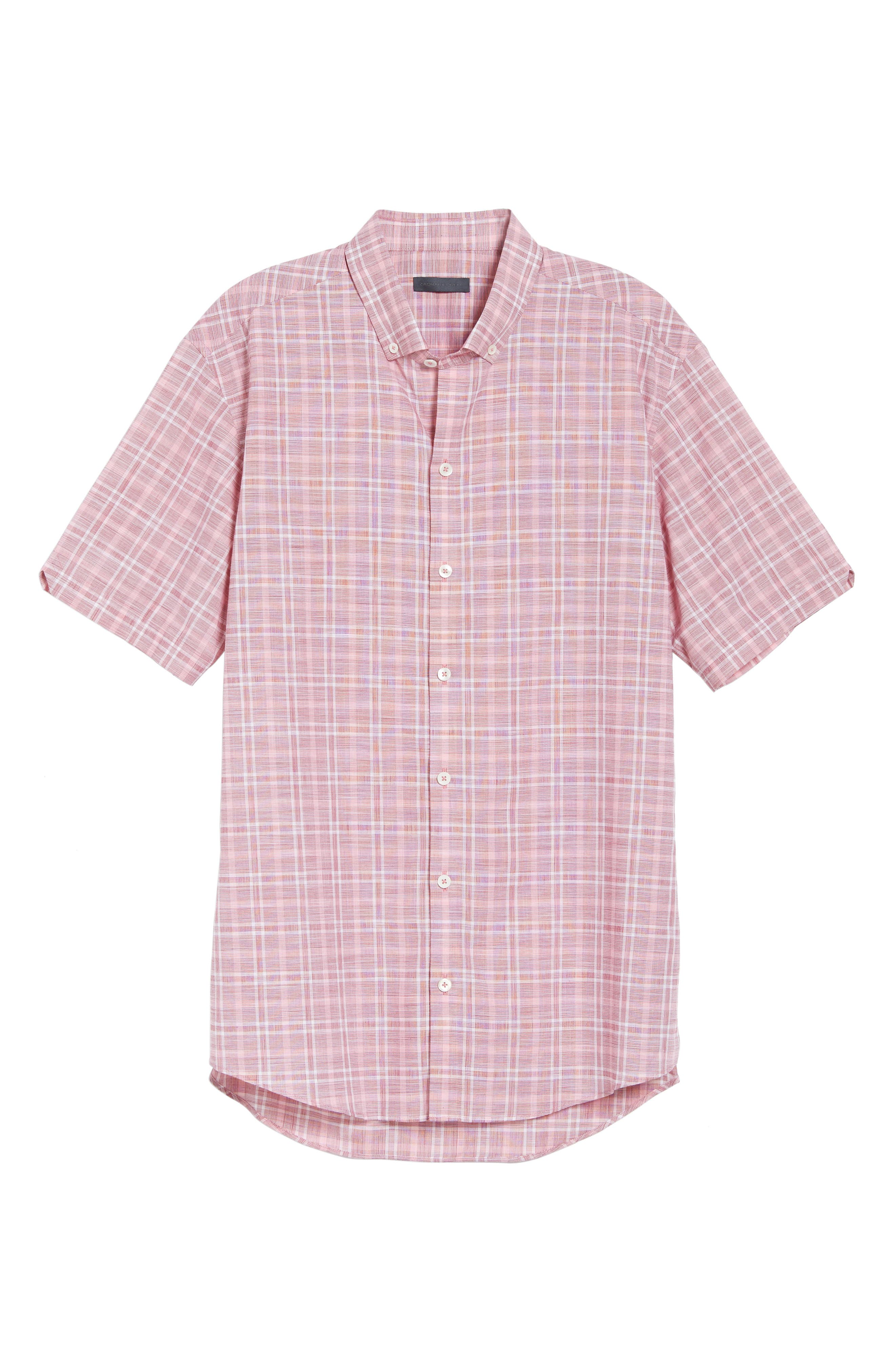 Holland Plaid Short Sleeve Sport Shirt,                             Alternate thumbnail 6, color,                             Red