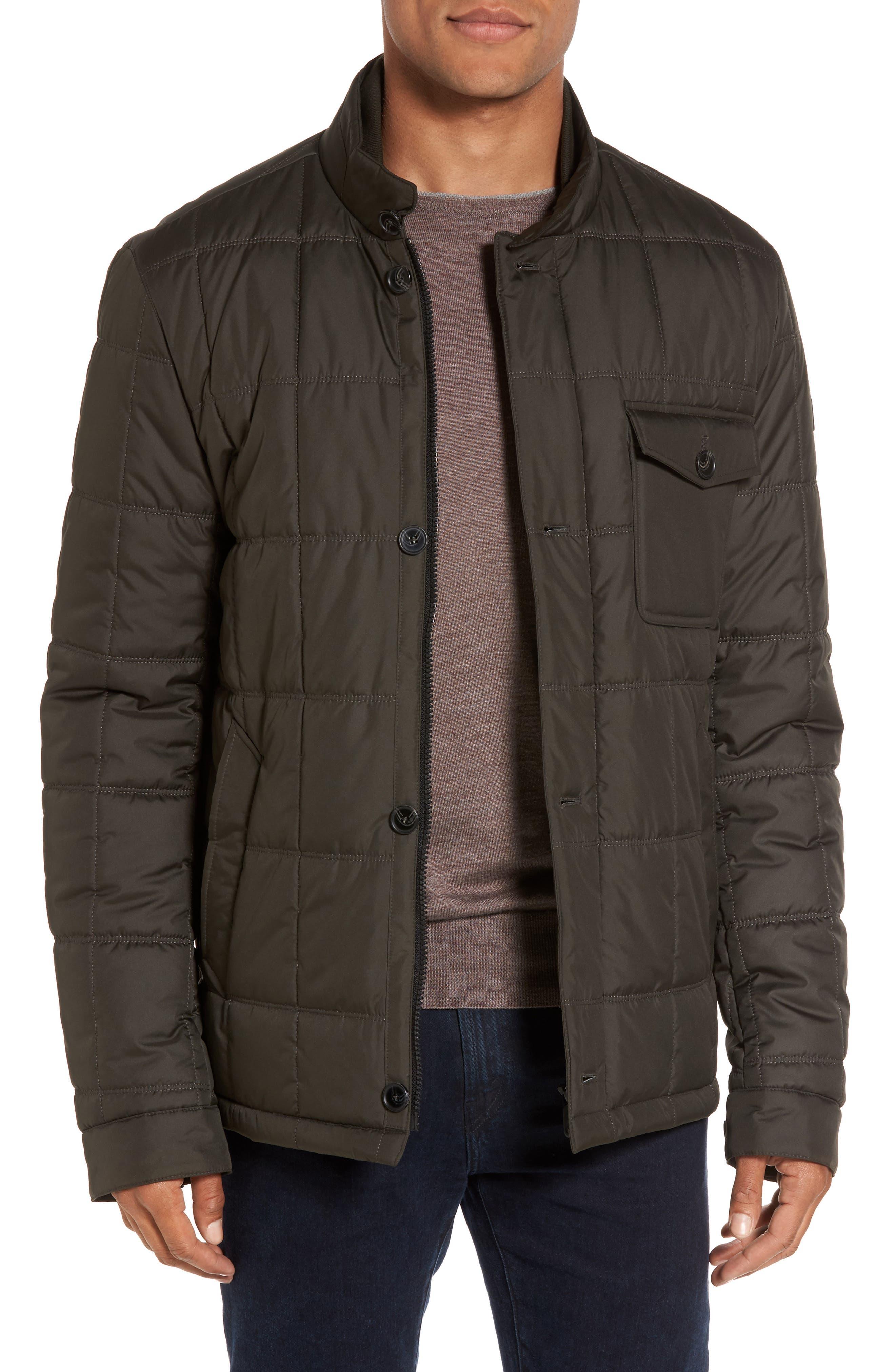 Regular Fit Quilted Jacket,                         Main,                         color, Olive