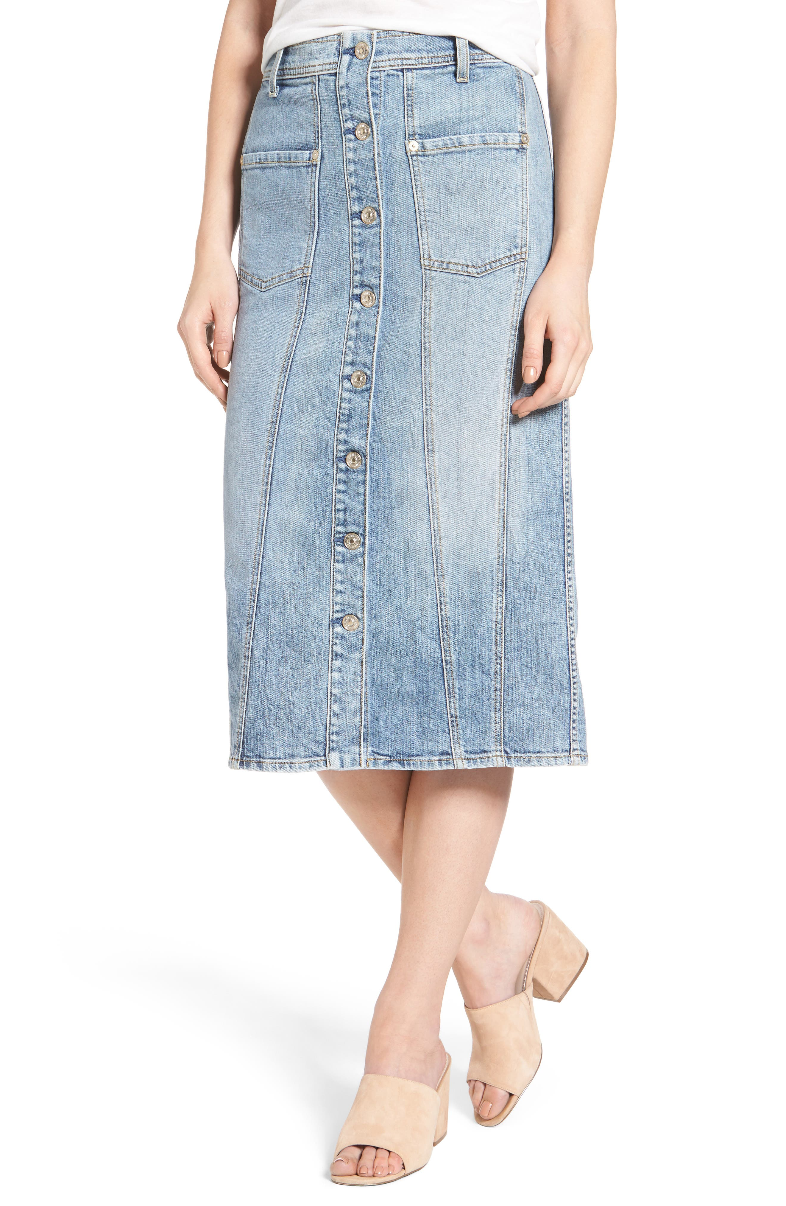 7 For All Mankind® Pieced Denim Skirt