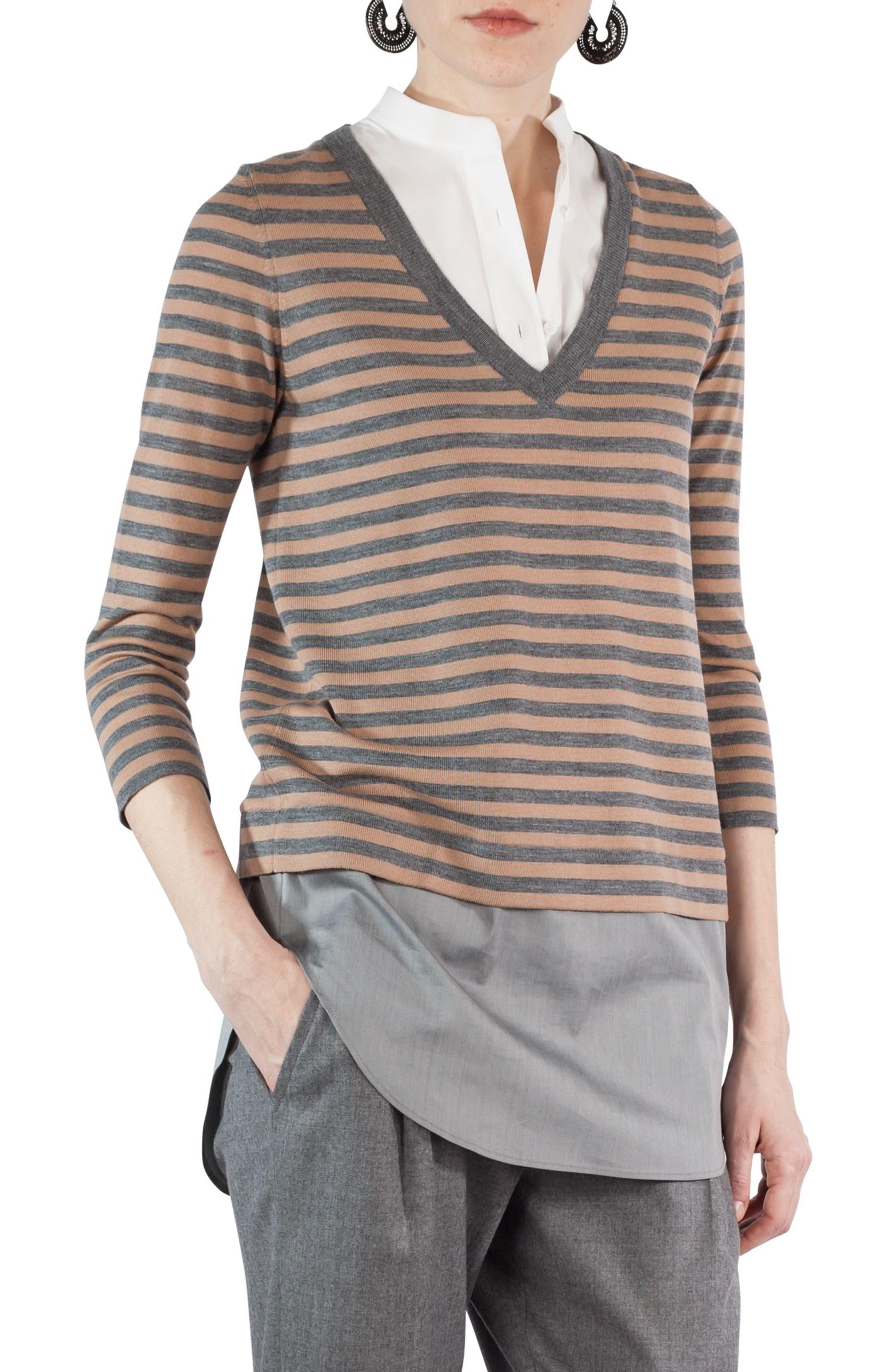 Poplin Inset Stripe Sweater,                         Main,                         color, Stone-Vikuna-Cream