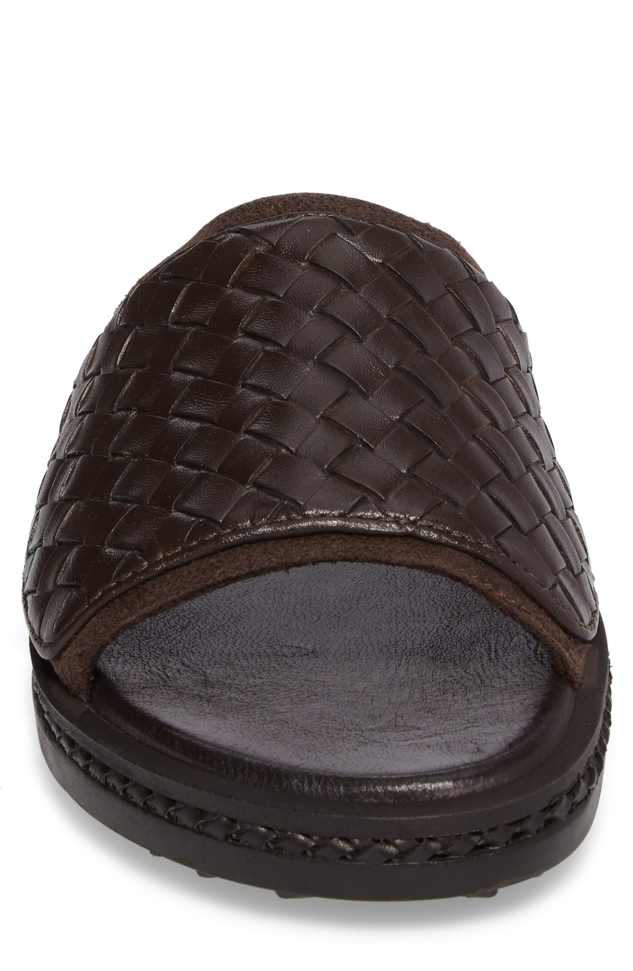 Shore Crest Woven Slide Sandal,                             Alternate thumbnail 4, color,                             Dark Brown