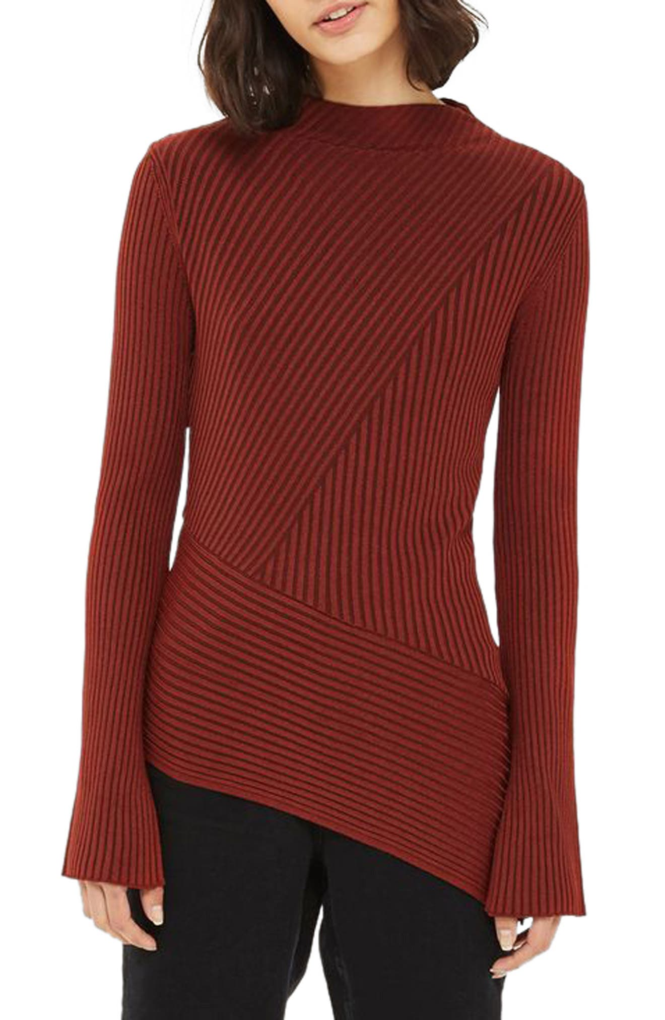 Asymmetrical Ribbed Sweater,                         Main,                         color, Rust
