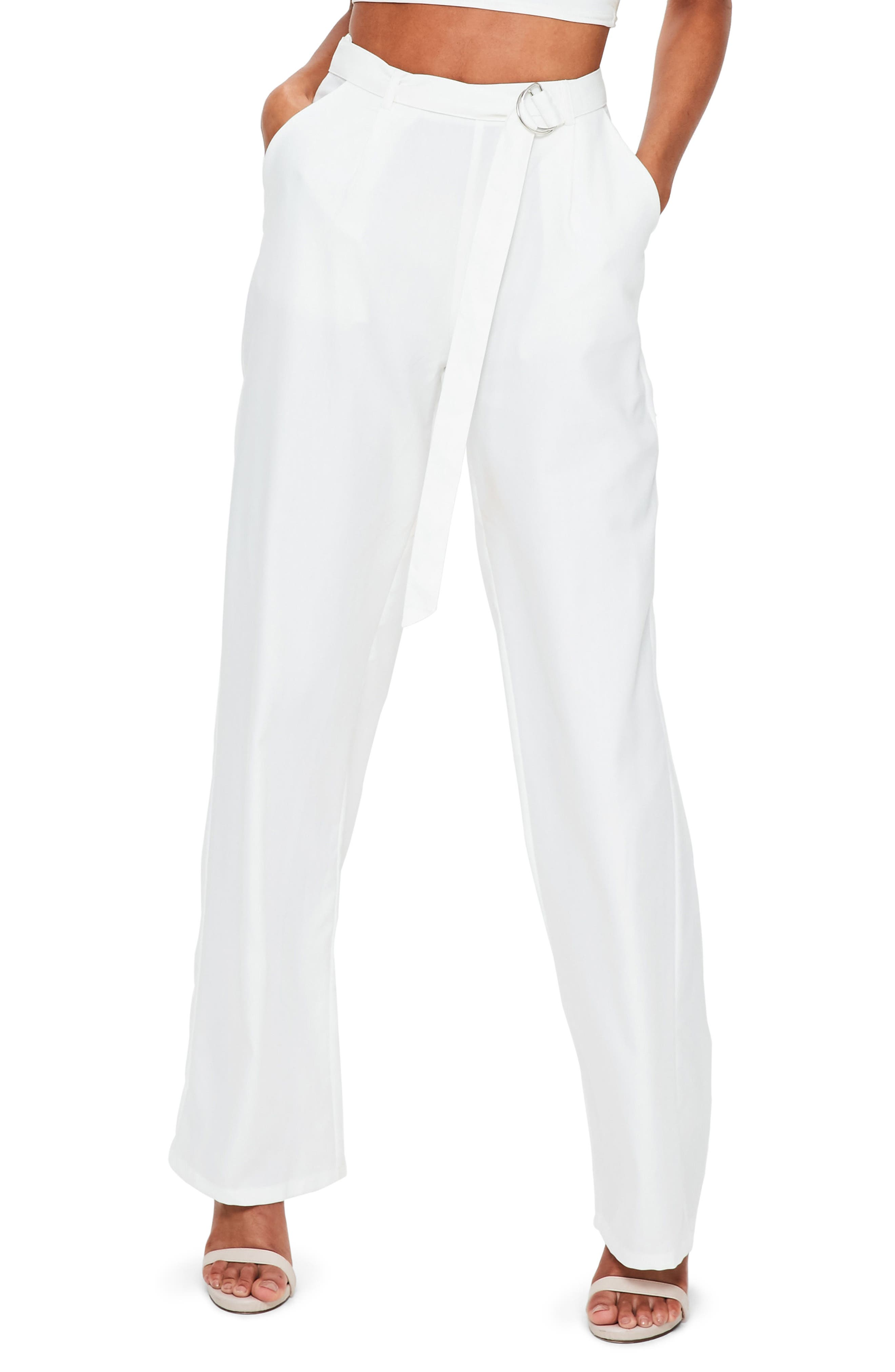 Wide Leg Trousers,                         Main,                         color, Ivory
