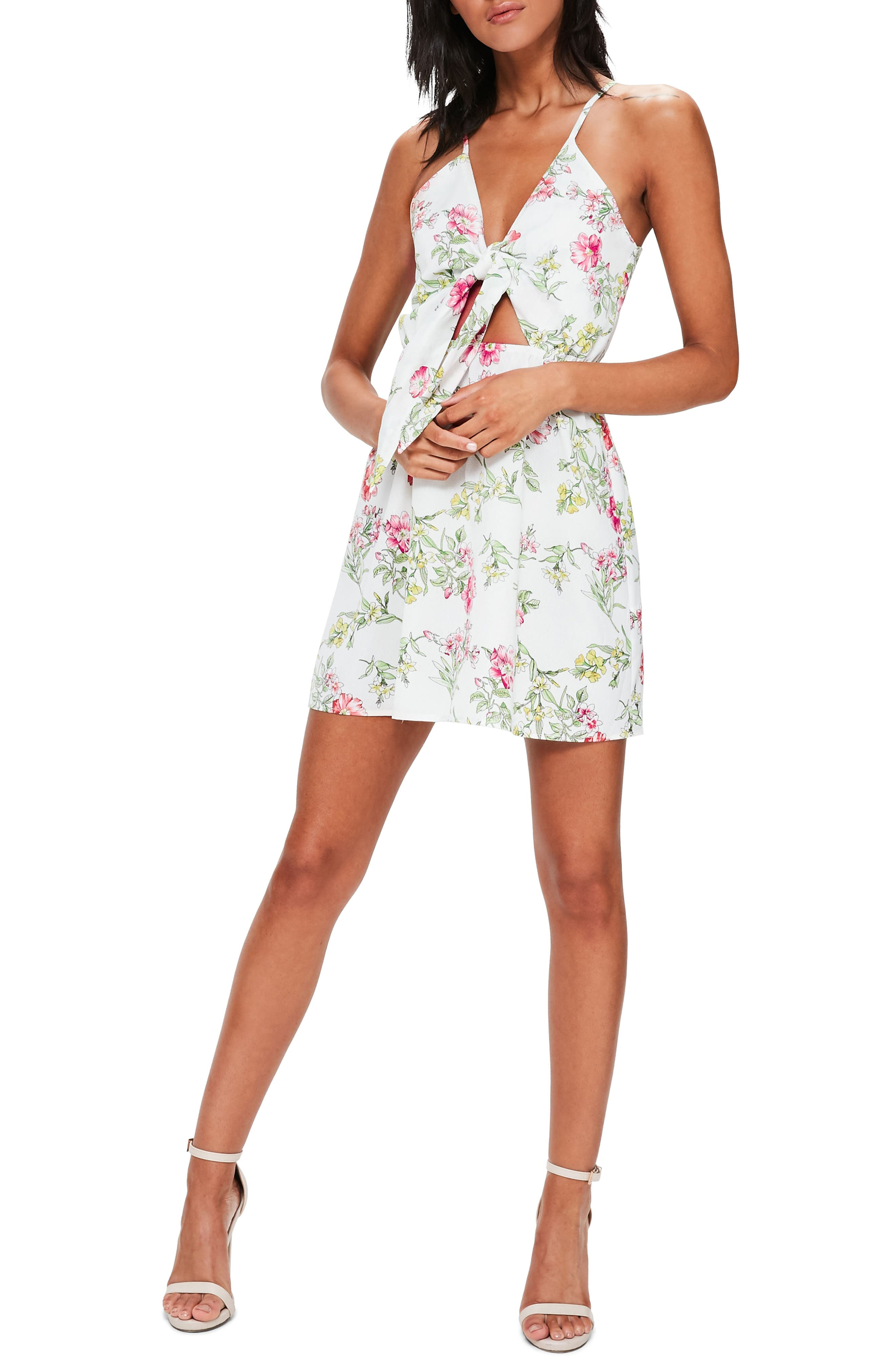 Main Image - Missguided Floral Print Tie-Front A-Line Dress