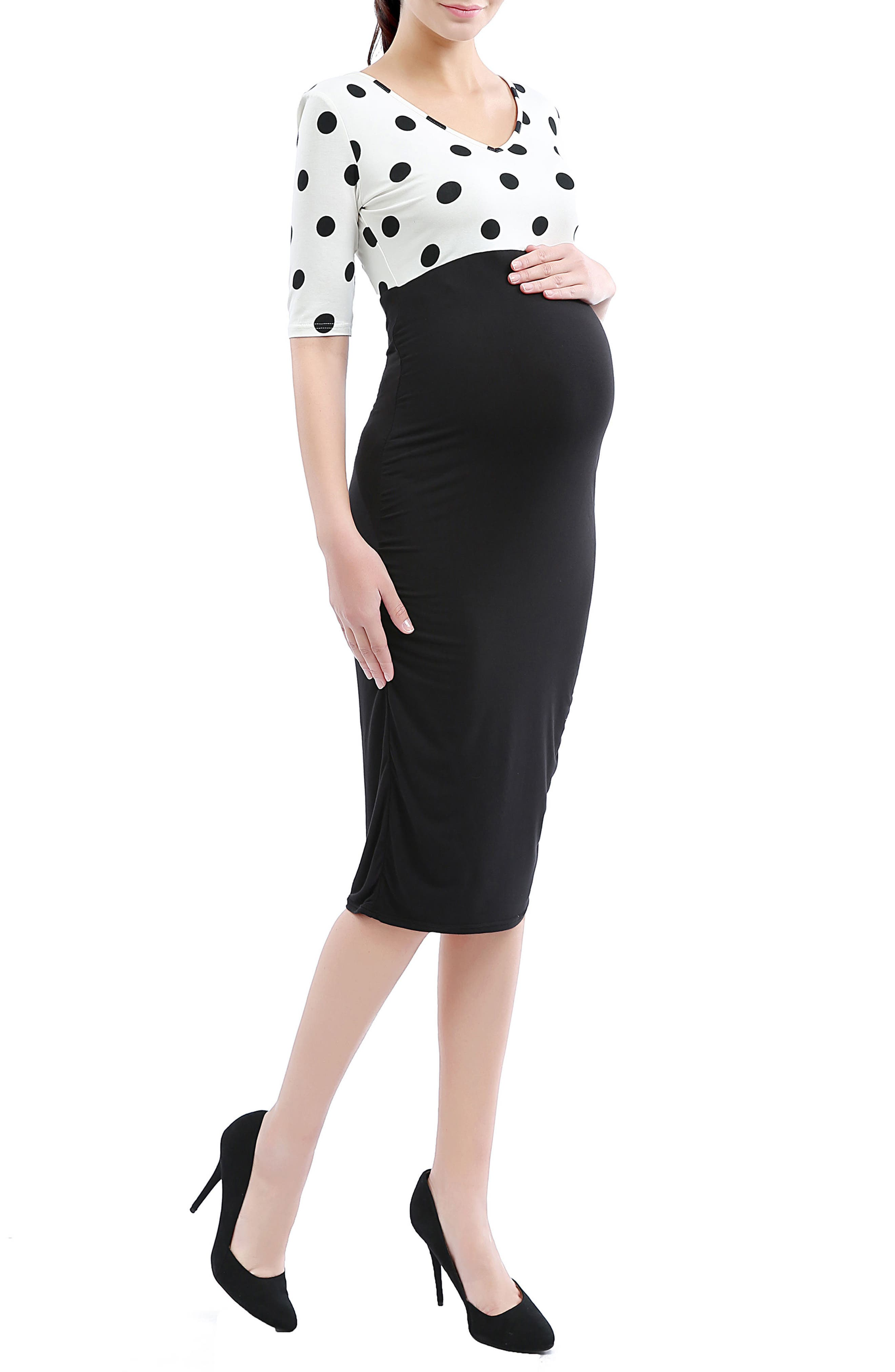 'Farrah' Maternity Body-Con Dress,                         Main,                         color, Black/White