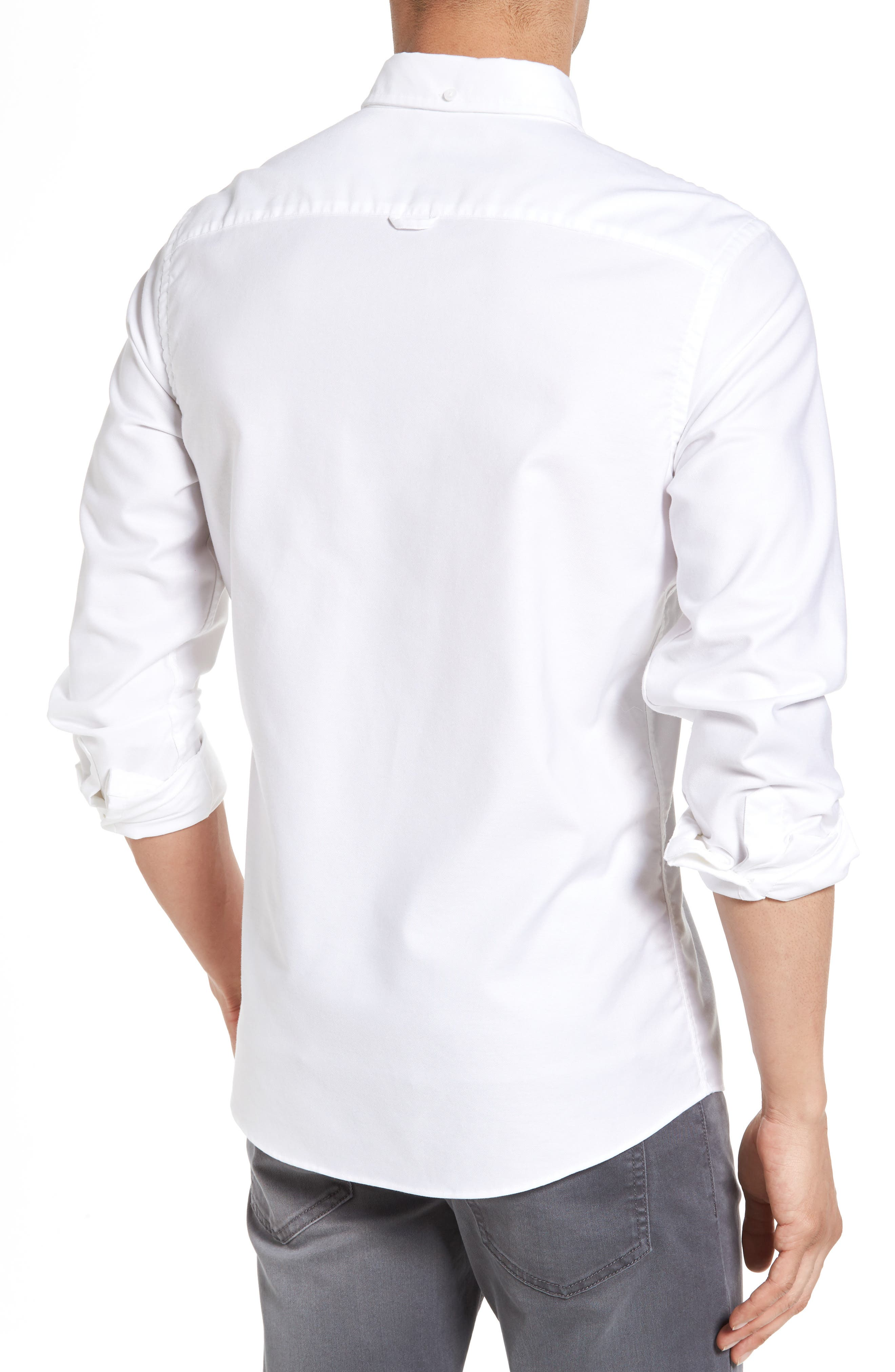 Trim Fit Washed Oxford Shirt,                             Alternate thumbnail 3, color,                             White Oxford