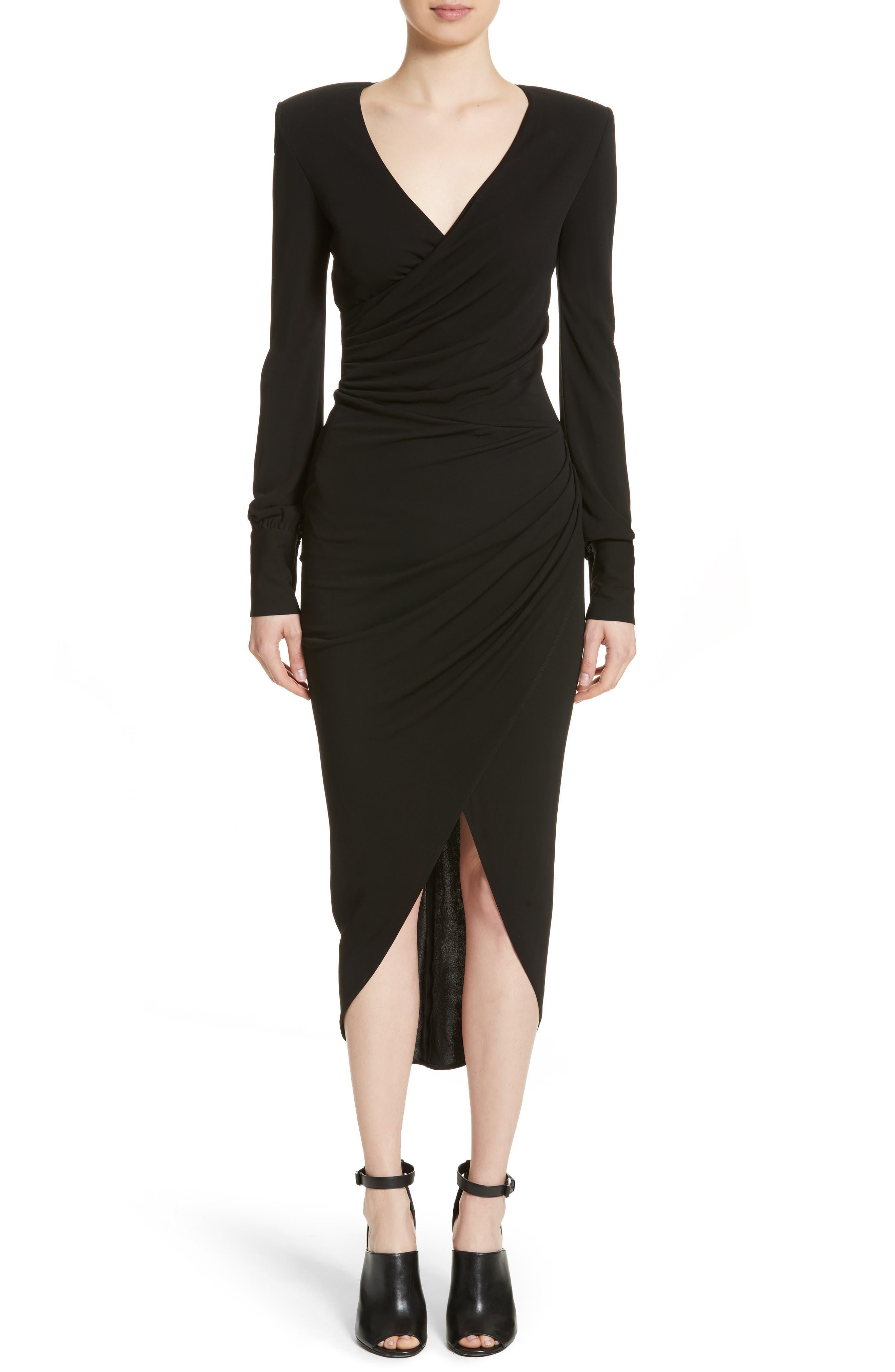 Stretch Jersey Wrap Dress,                         Main,                         color, Black