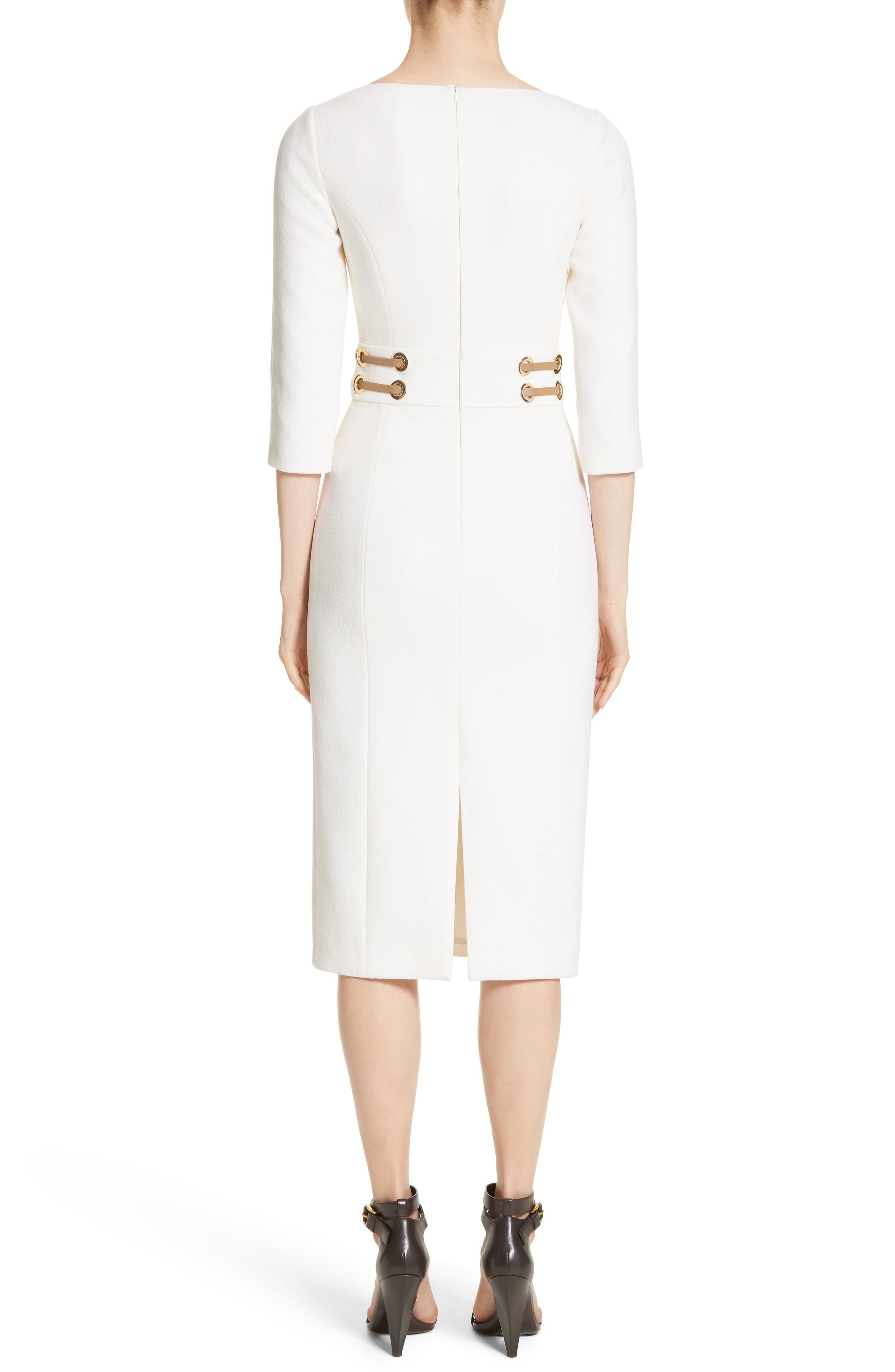 Alternate Image 2  - Michael Kors Leather Trim Stretch Bouclé Crepe Sheath Dress