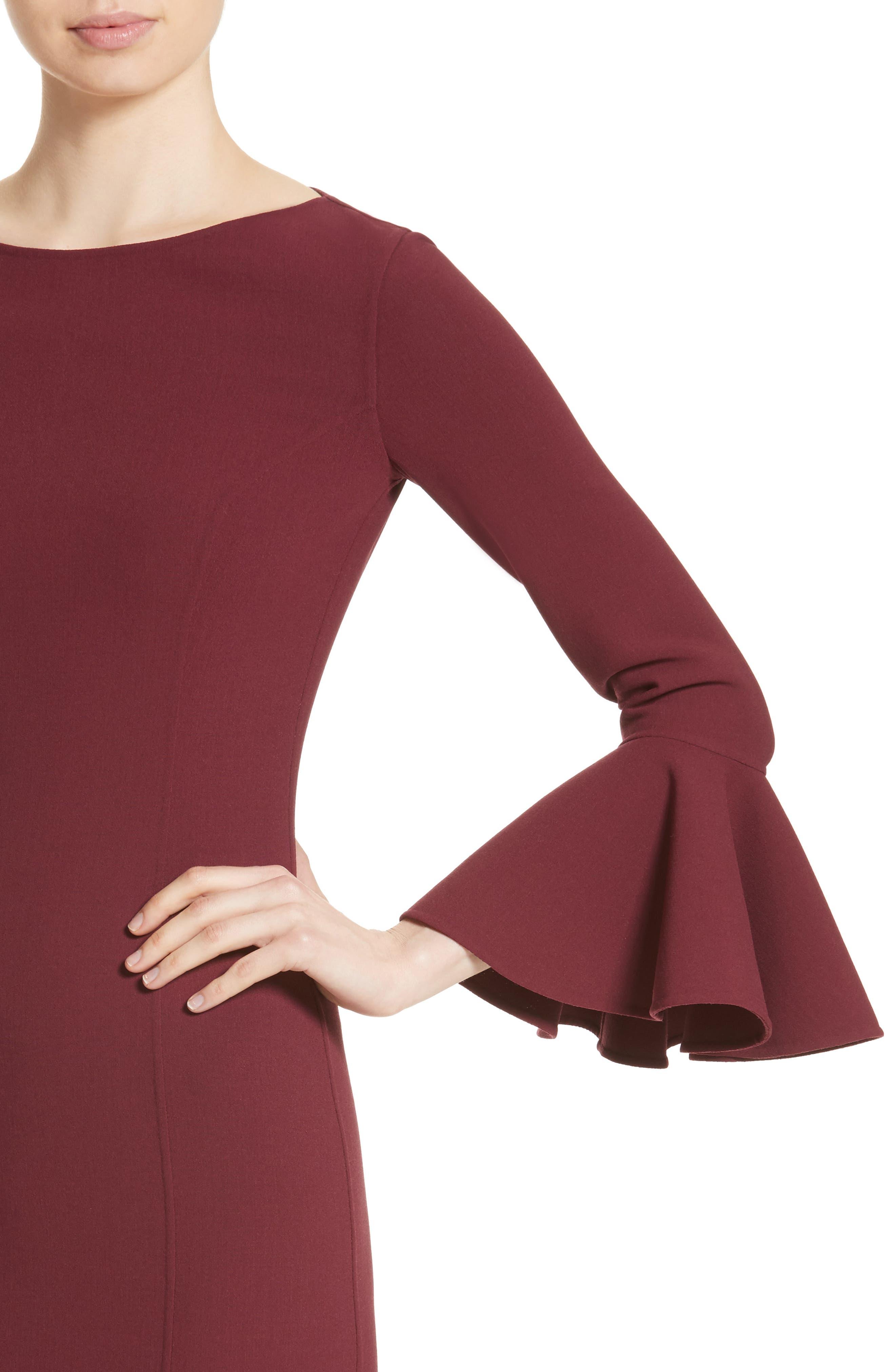 Bell Cuff Sheath Dress,                             Alternate thumbnail 7, color,                             Merlot