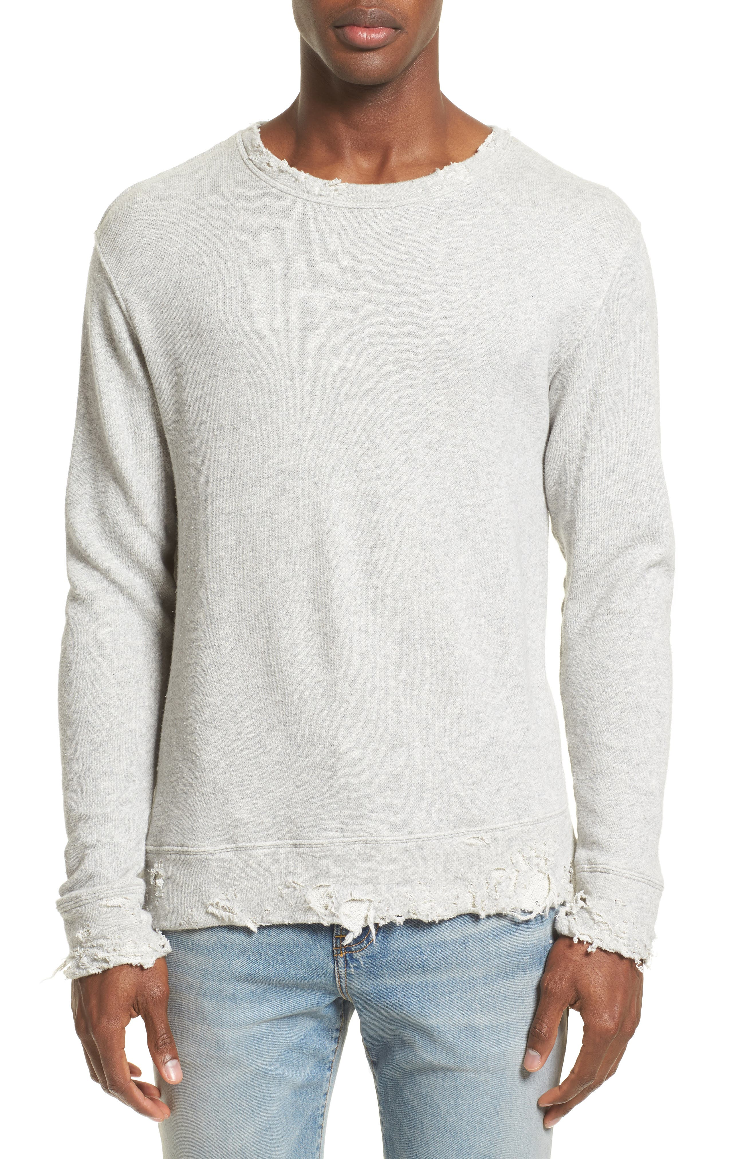 Vintage Distressed Sweatshirt,                             Main thumbnail 1, color,                             Heather Grey