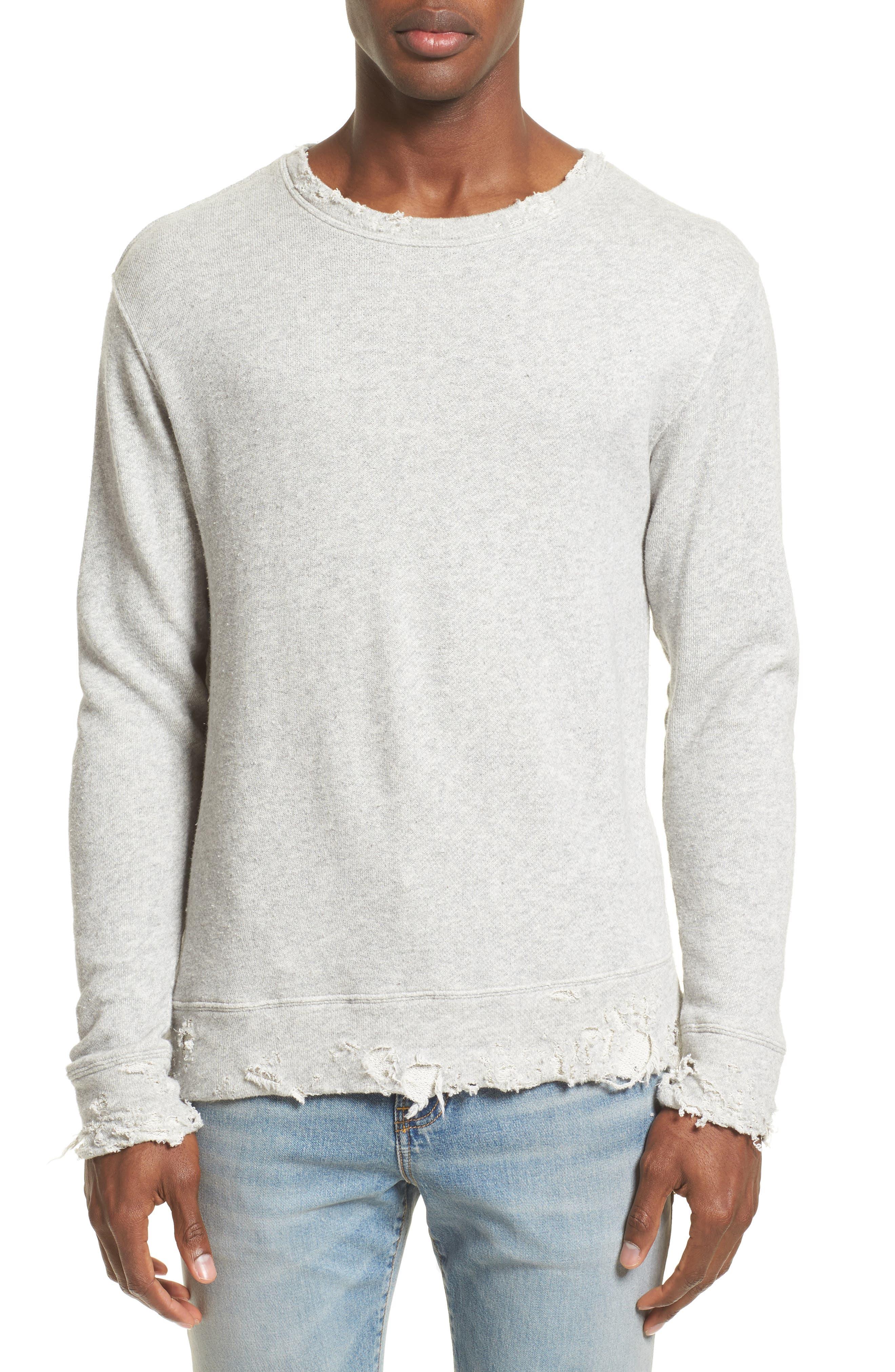 Vintage Distressed Sweatshirt,                         Main,                         color, Heather Grey