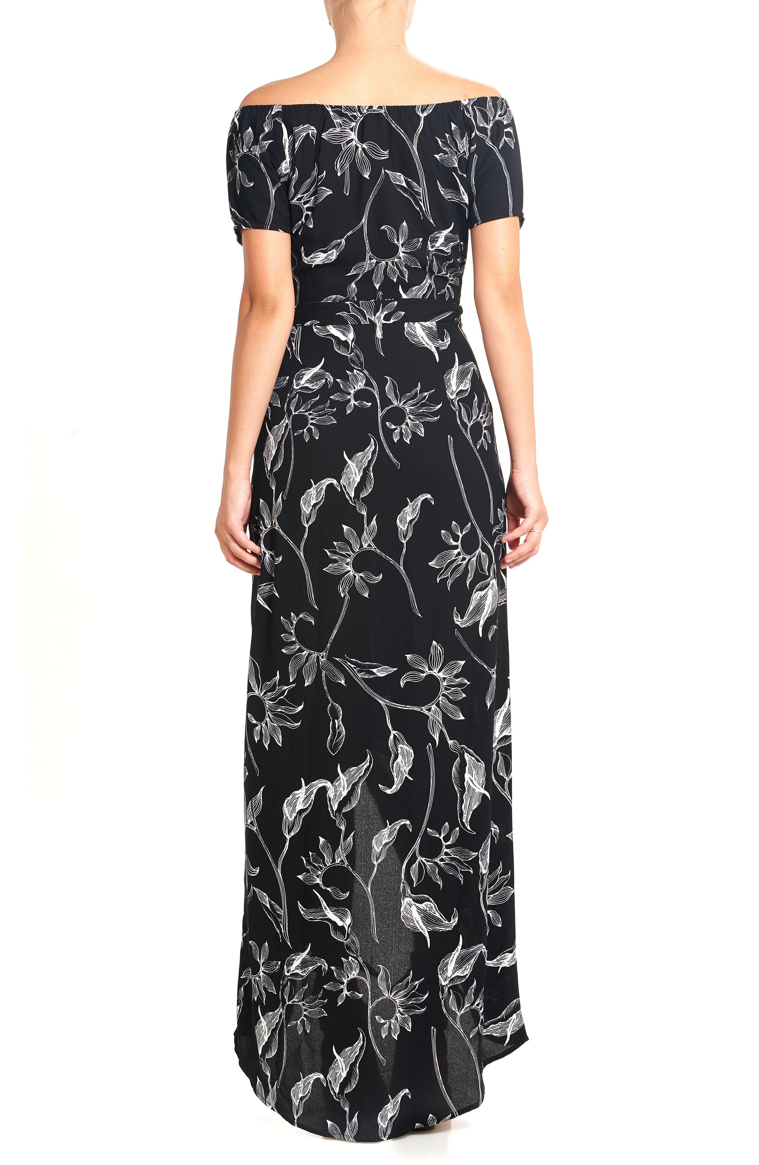 Print Off the Shoulder Maxi Dress,                             Alternate thumbnail 2, color,                             Black