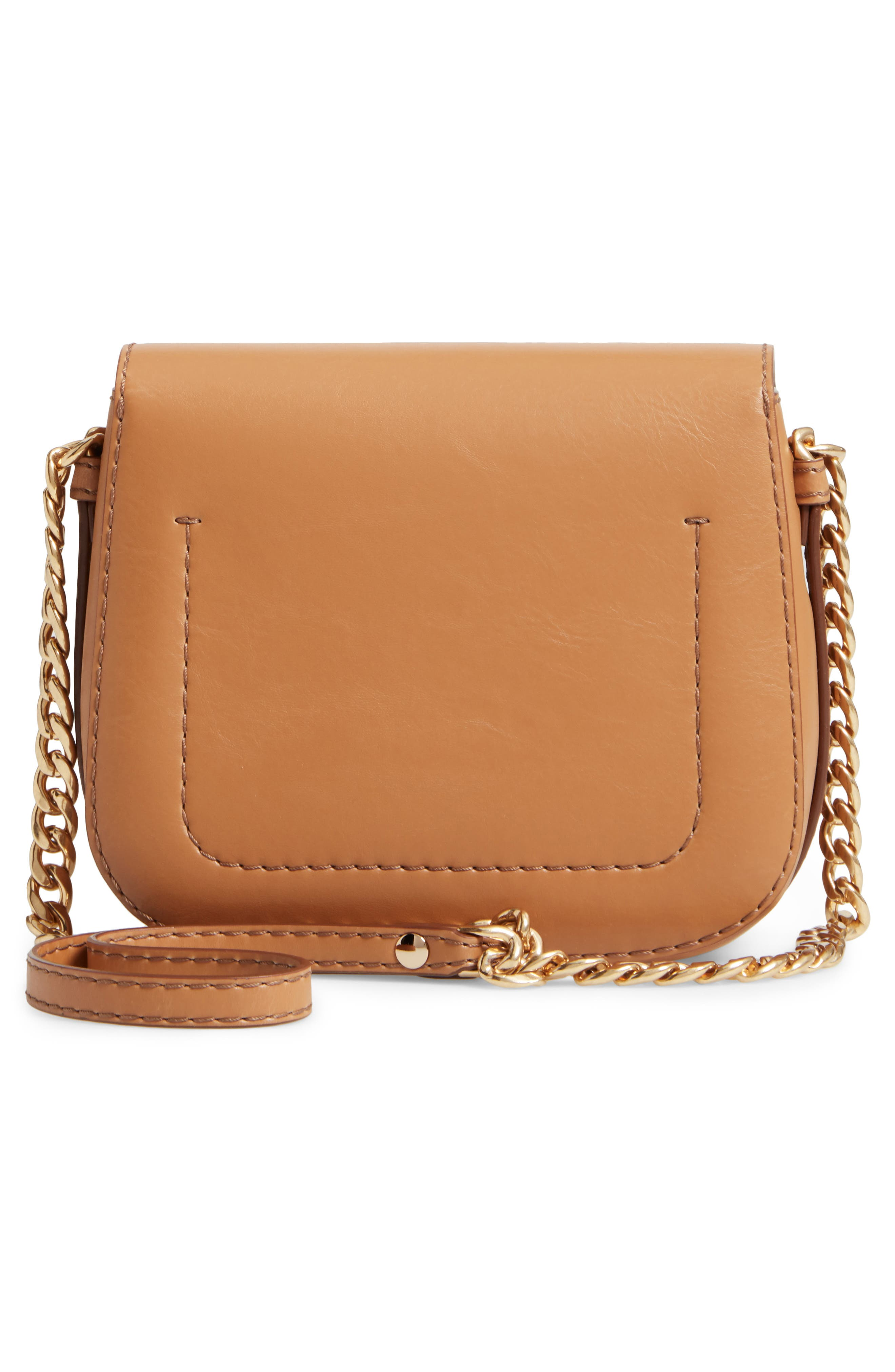 Textured Faux Leather Crossbody Bag,                             Alternate thumbnail 3, color,                             Camel