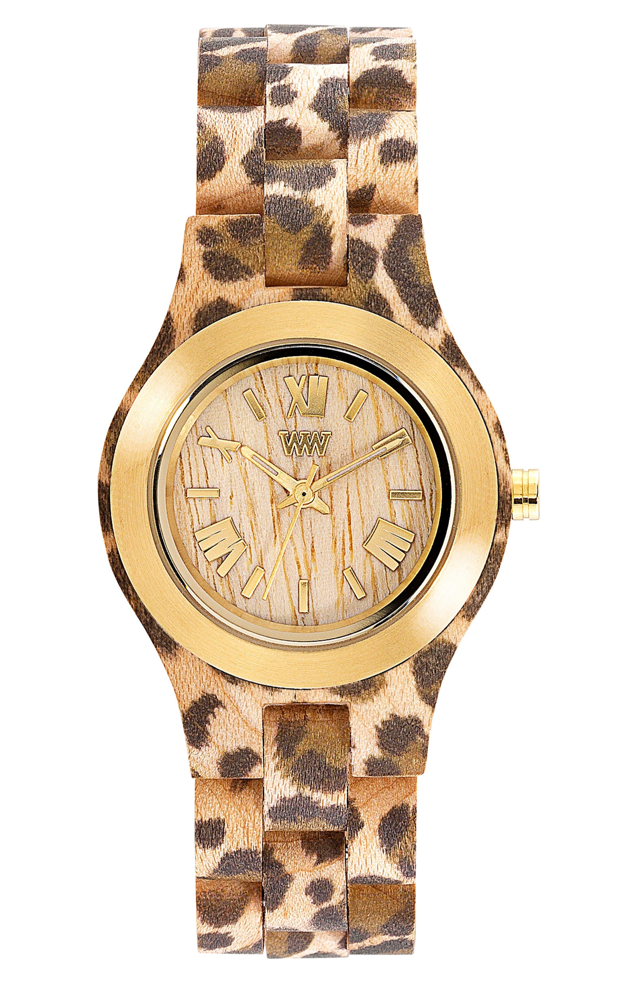Criss Wood Bracelet Watch, 31mm,                         Main,                         color, Cheetah Print/ Tan/ Gold