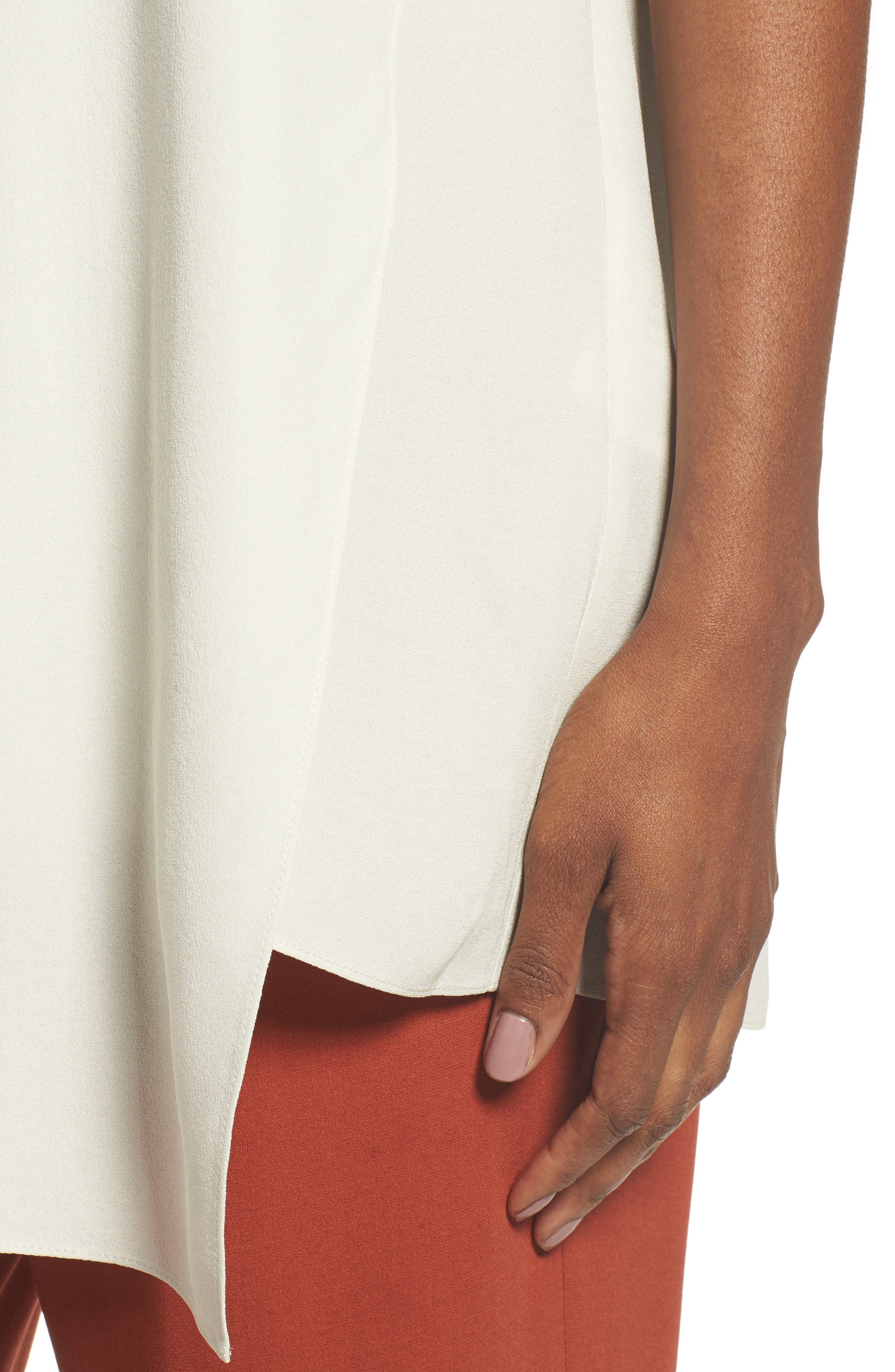 Asymmetrical Silk Tunic,                             Alternate thumbnail 4, color,                             Bone