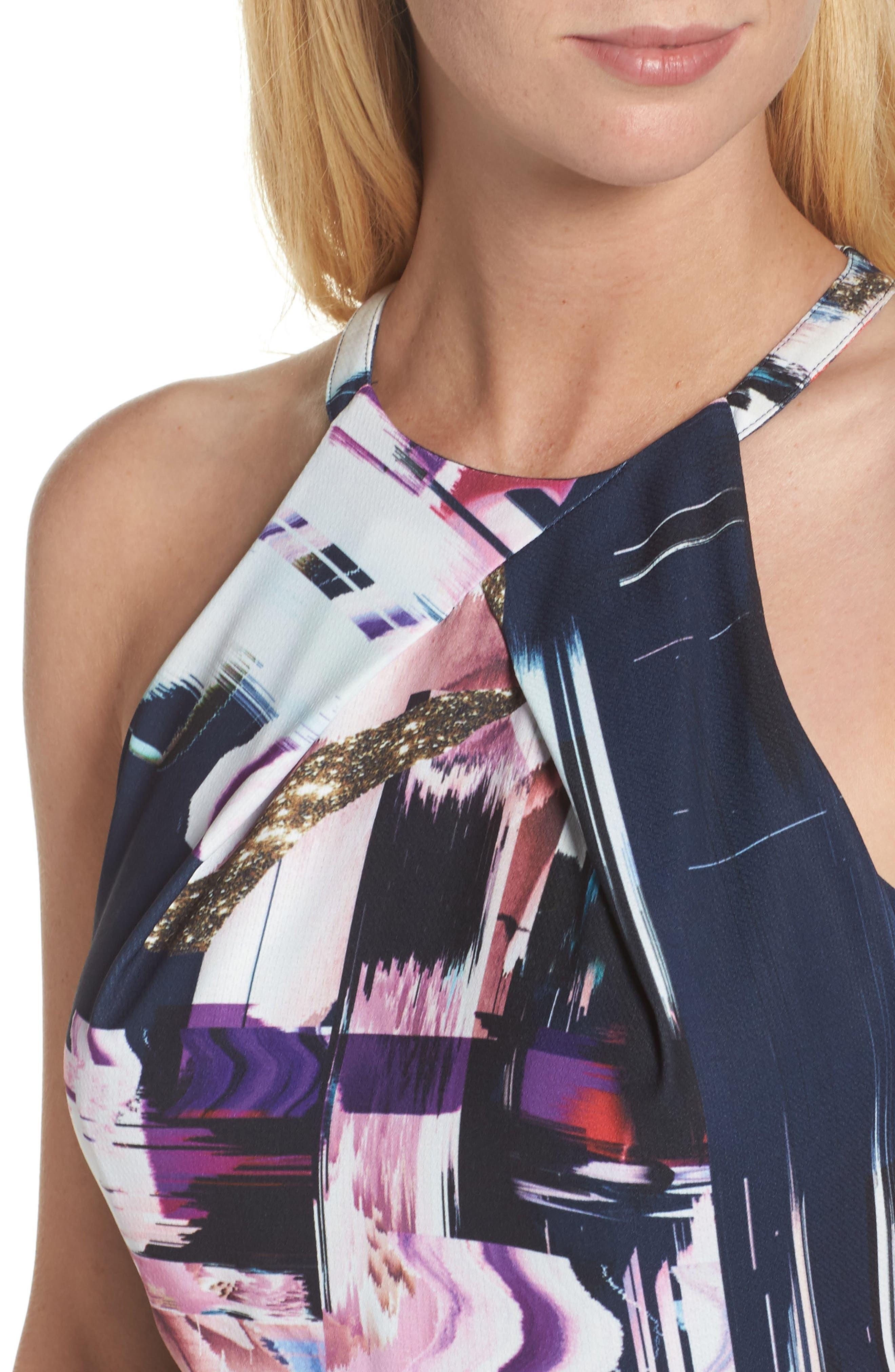 Floral Faux Wrap Dress,                             Alternate thumbnail 4, color,                             Navy Watercolor Print