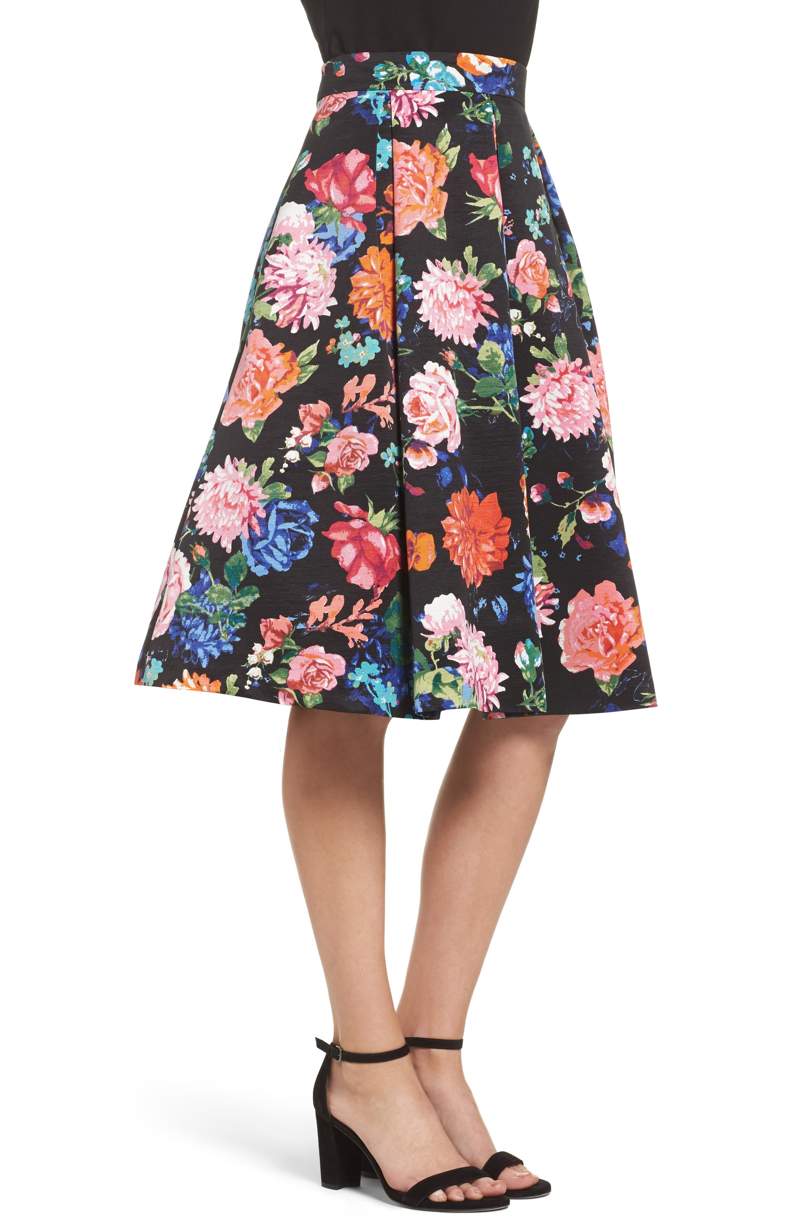 Floral Midi Skirt,                             Alternate thumbnail 3, color,                             Black/ Pink
