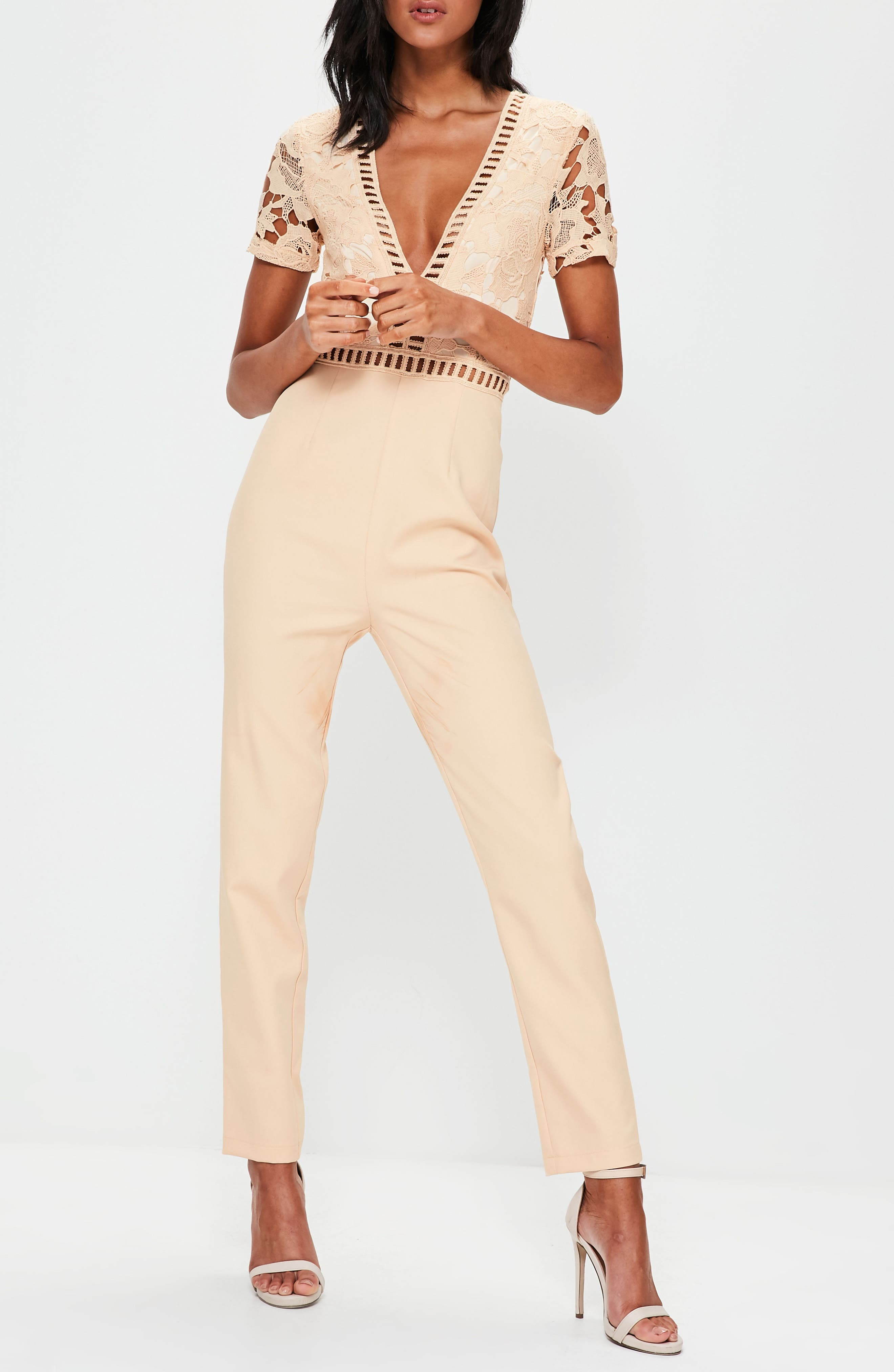 Lace Top Jumpsuit,                             Alternate thumbnail 3, color,                             Nude