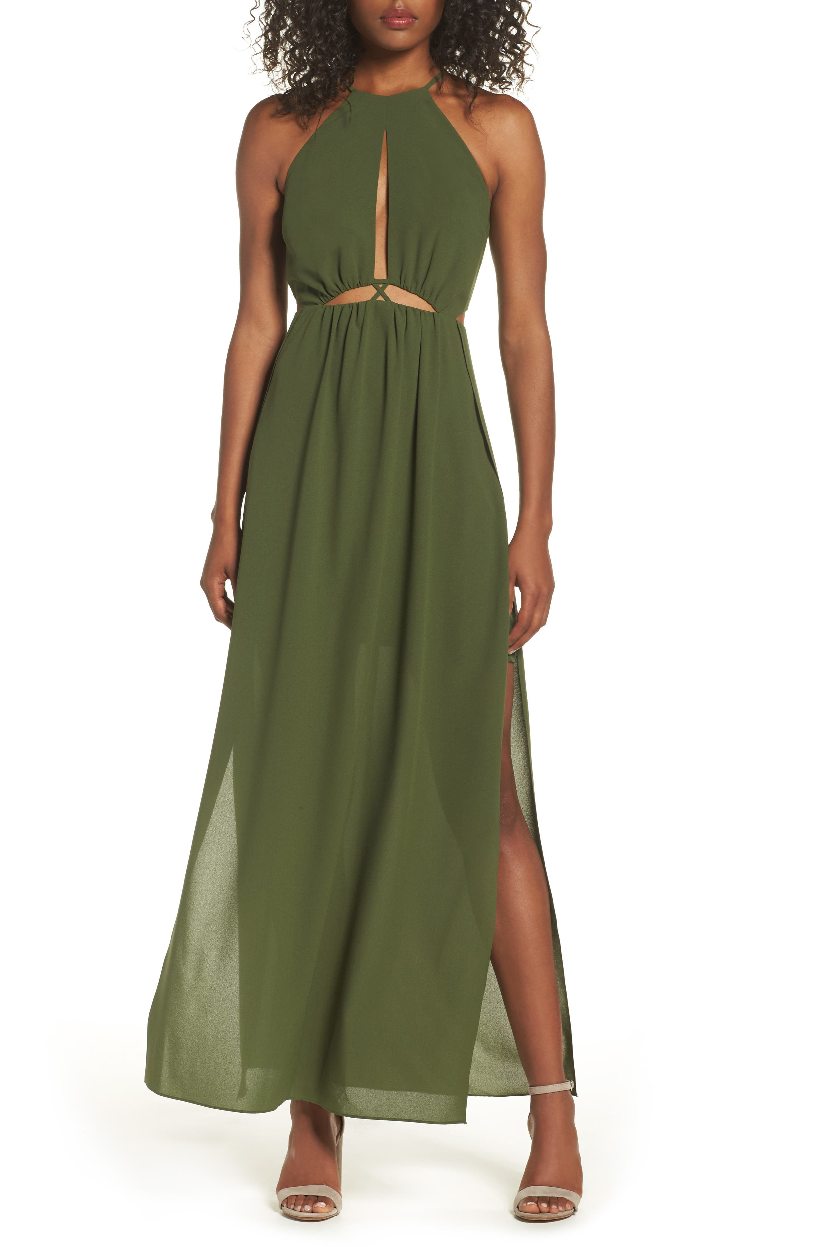 Gazing At The Observatory Maxi Dress,                             Main thumbnail 1, color,                             Army