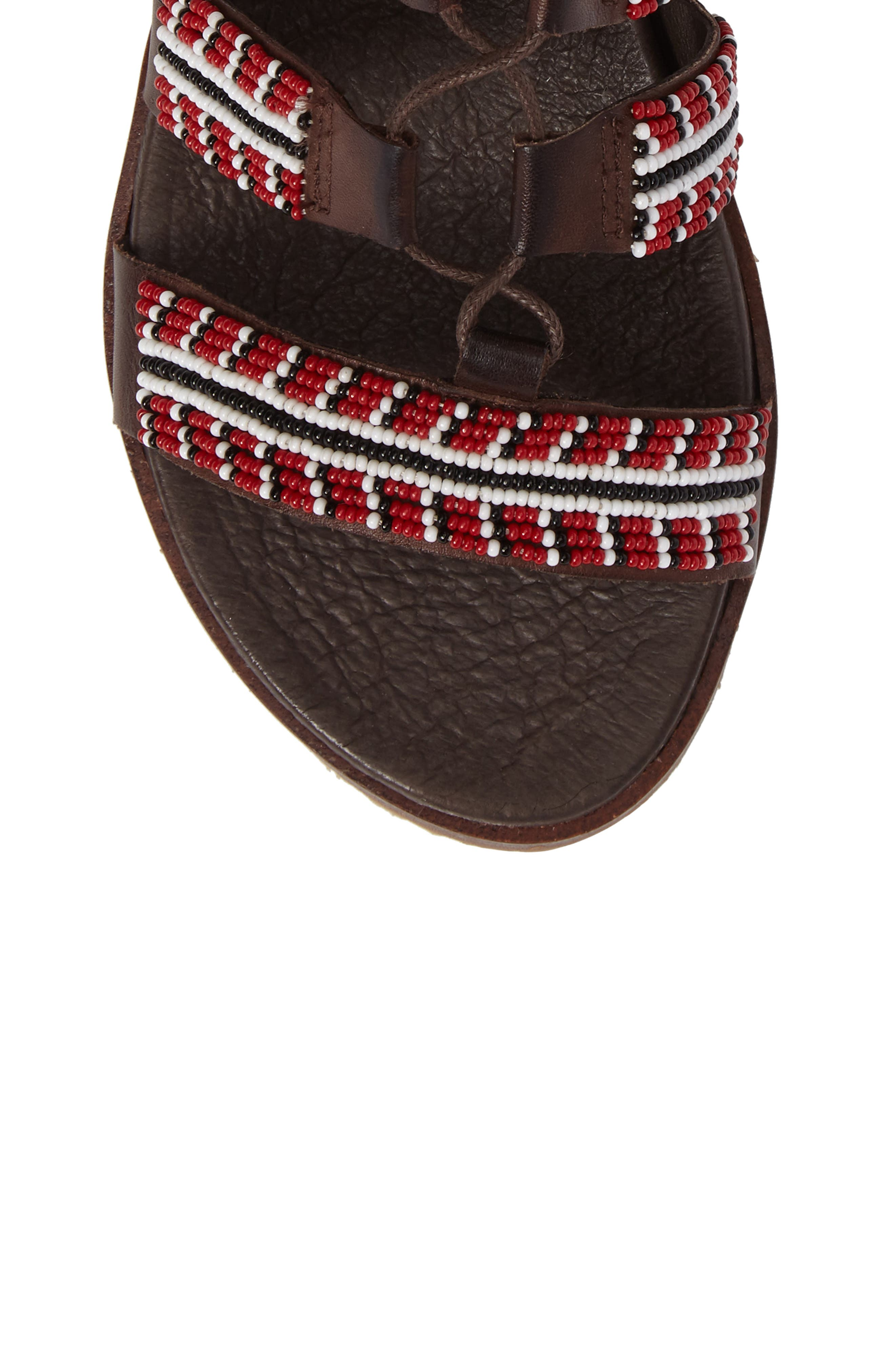 Antillas Beaded Ghillie Sandal,                             Alternate thumbnail 5, color,                             Olmo Leather