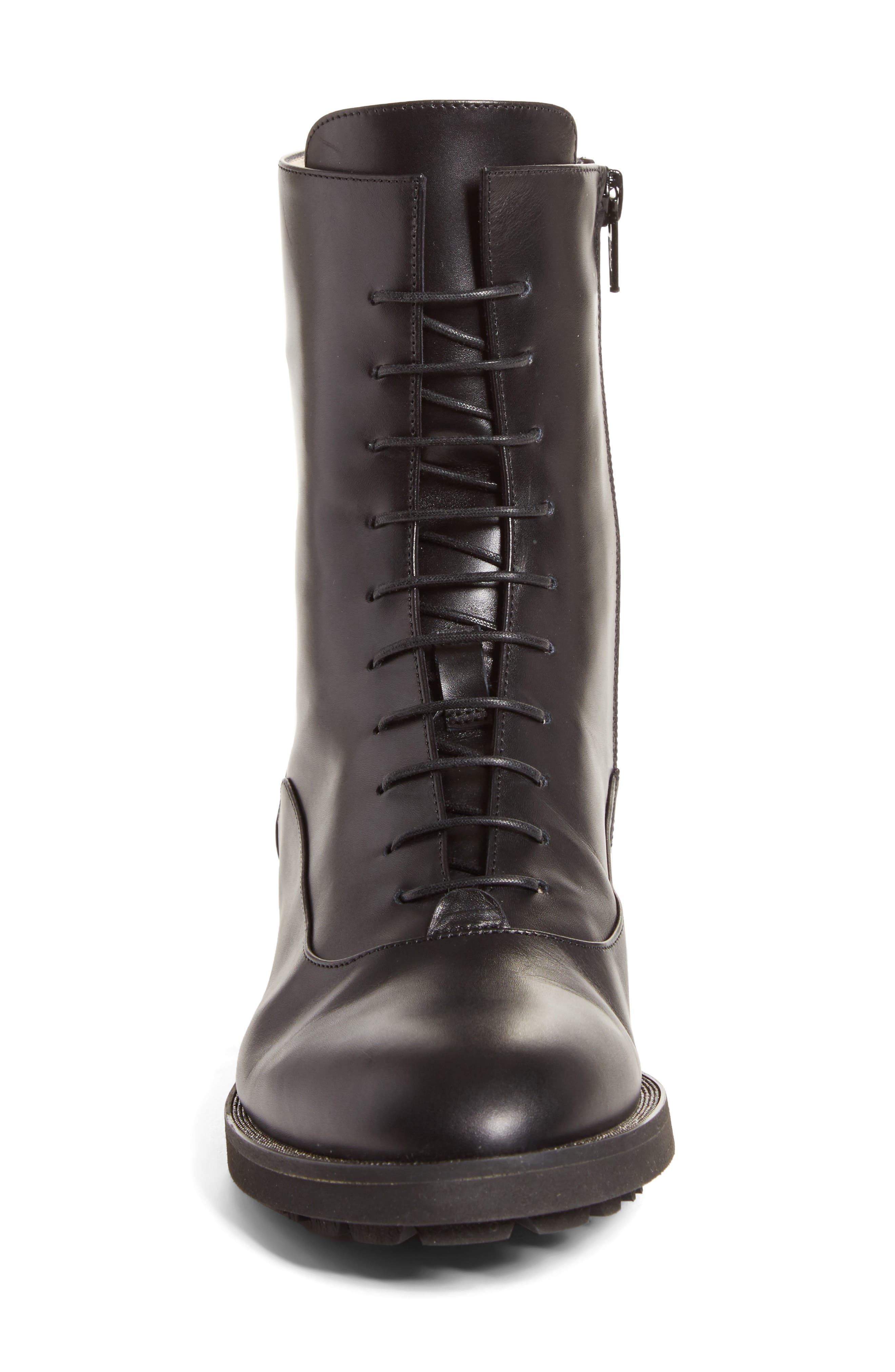 Ludovica Combat Boot,                             Alternate thumbnail 3, color,                             Black