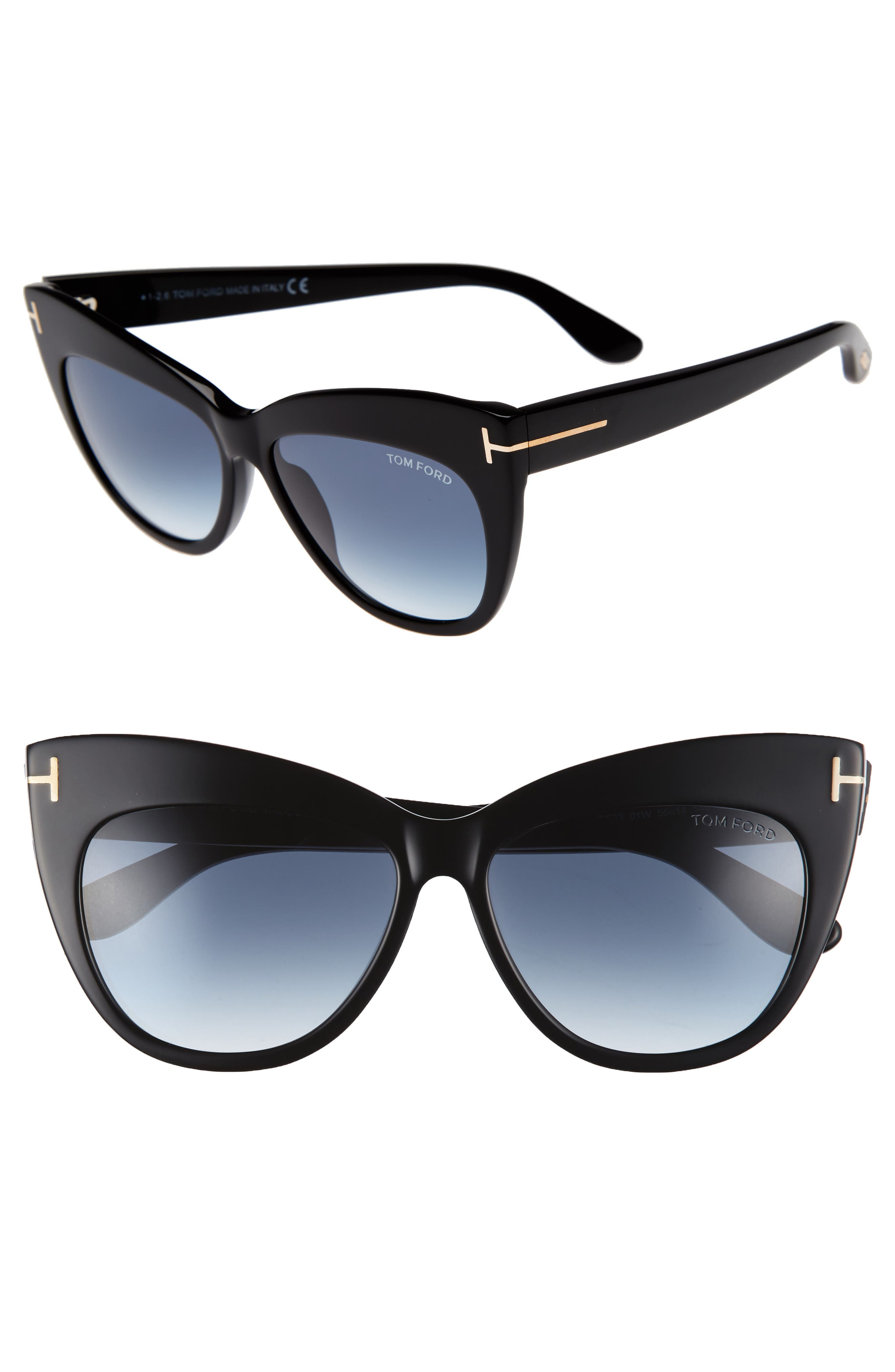 Nika 56mm Gradient Cat Eye Sunglasses,                         Main,                         color, Shiny Black/ Gradient Blue