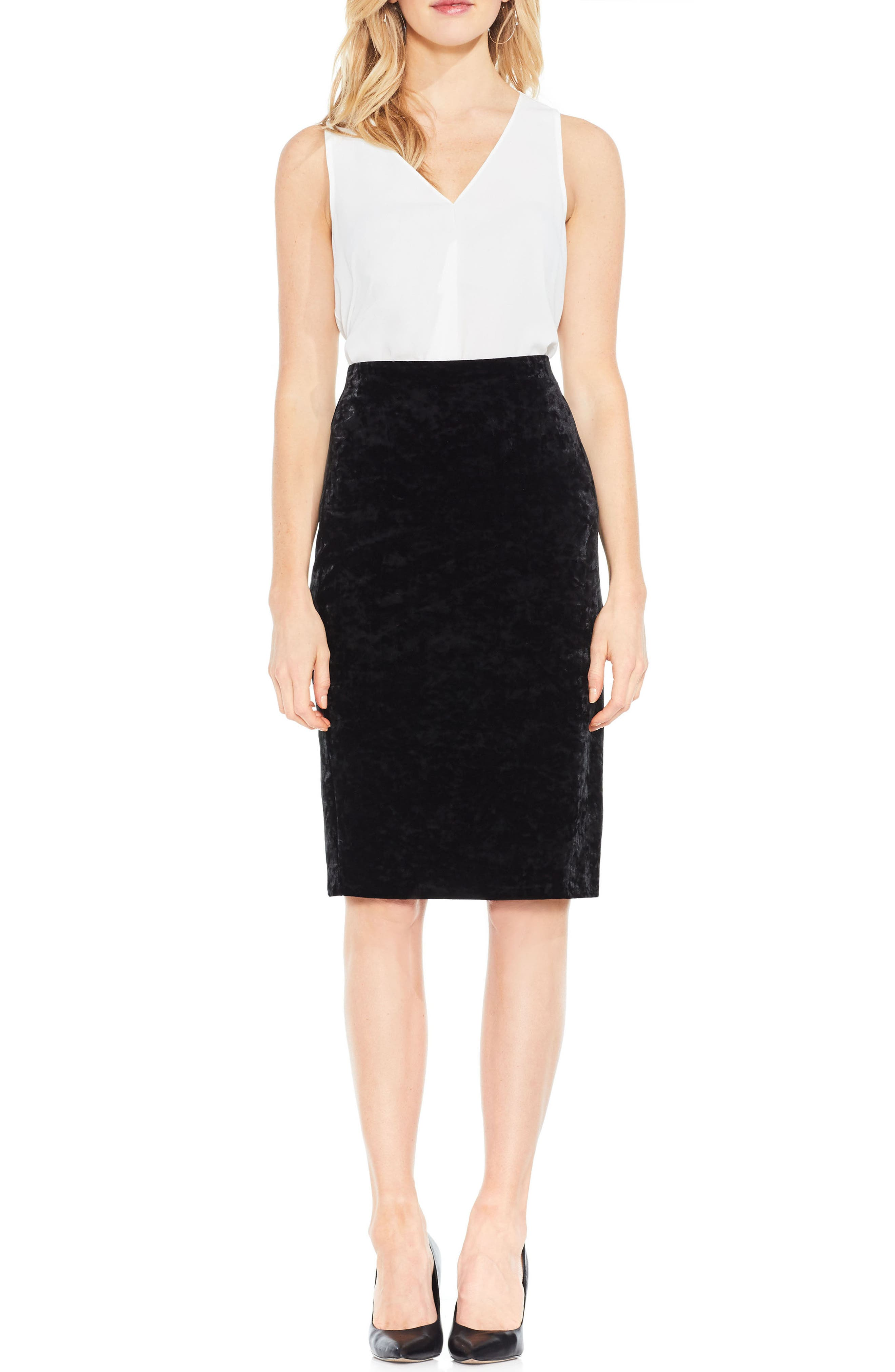 Velvet Pencil Skirt,                             Alternate thumbnail 2, color,                             Rich Black