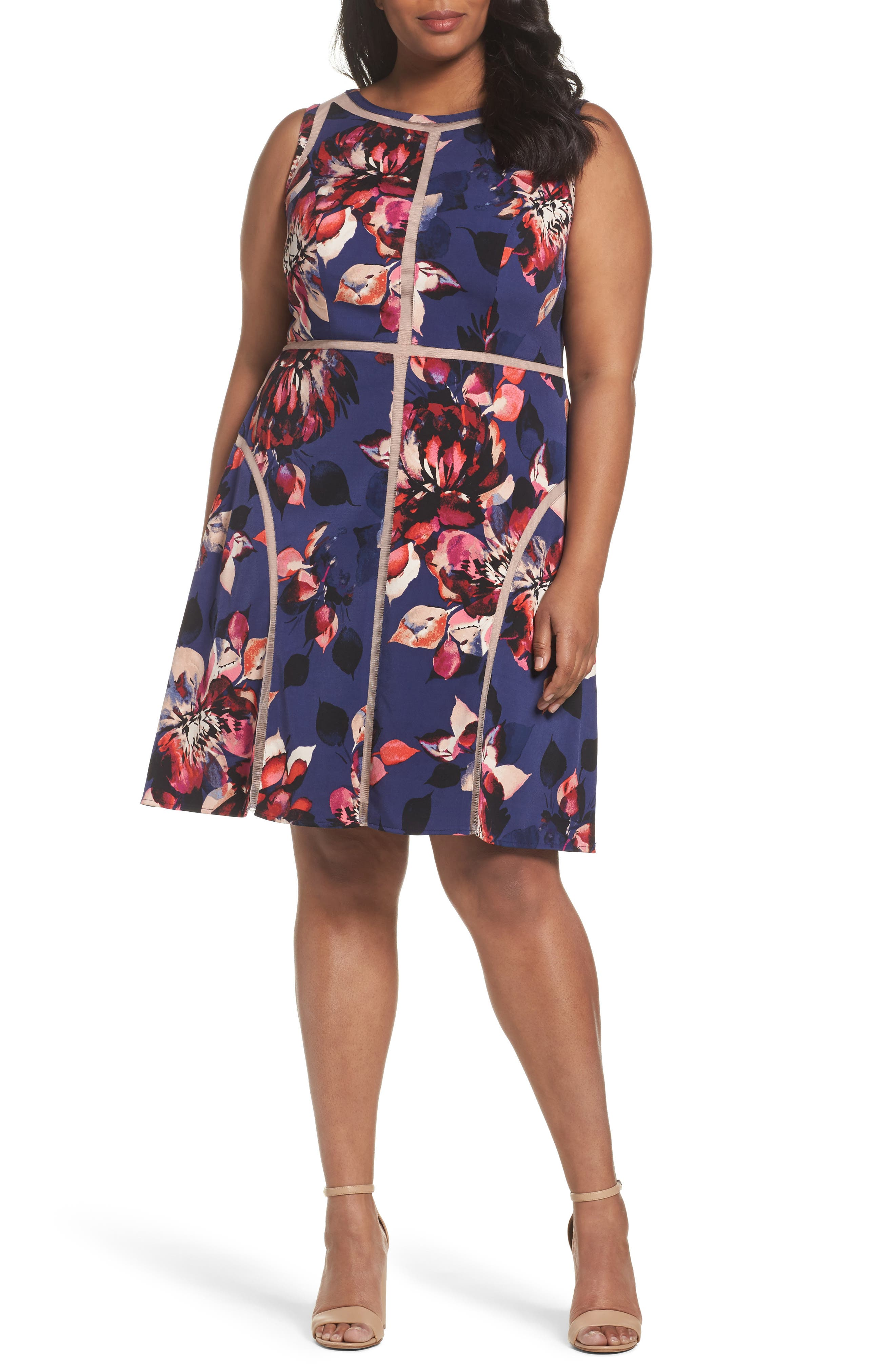 Adrianna Papell Spliced Floral Print Jersey Dress (Plus Size)