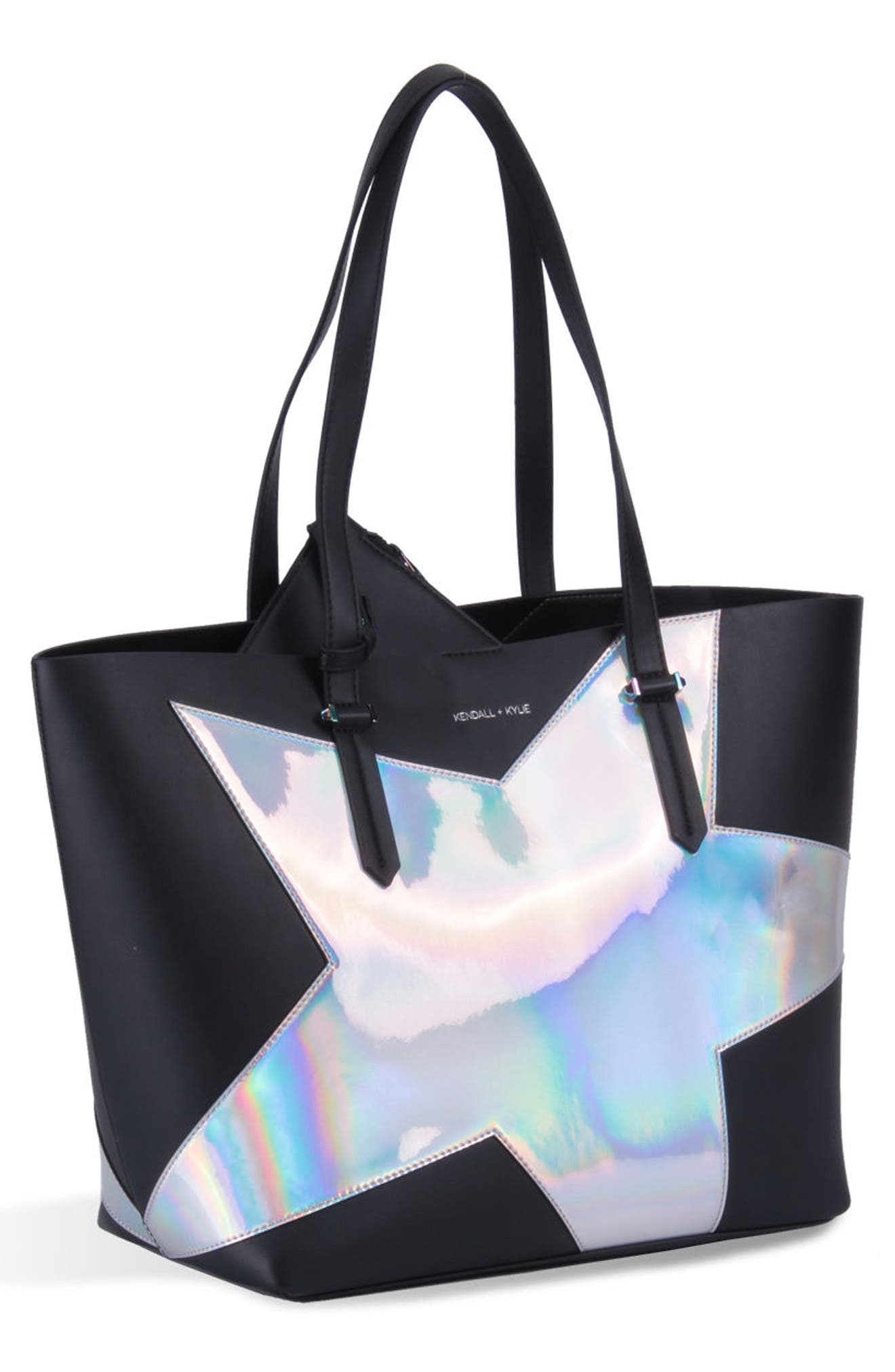 Izzy Star Tote,                         Main,                         color, Black/ Silver Iridescent
