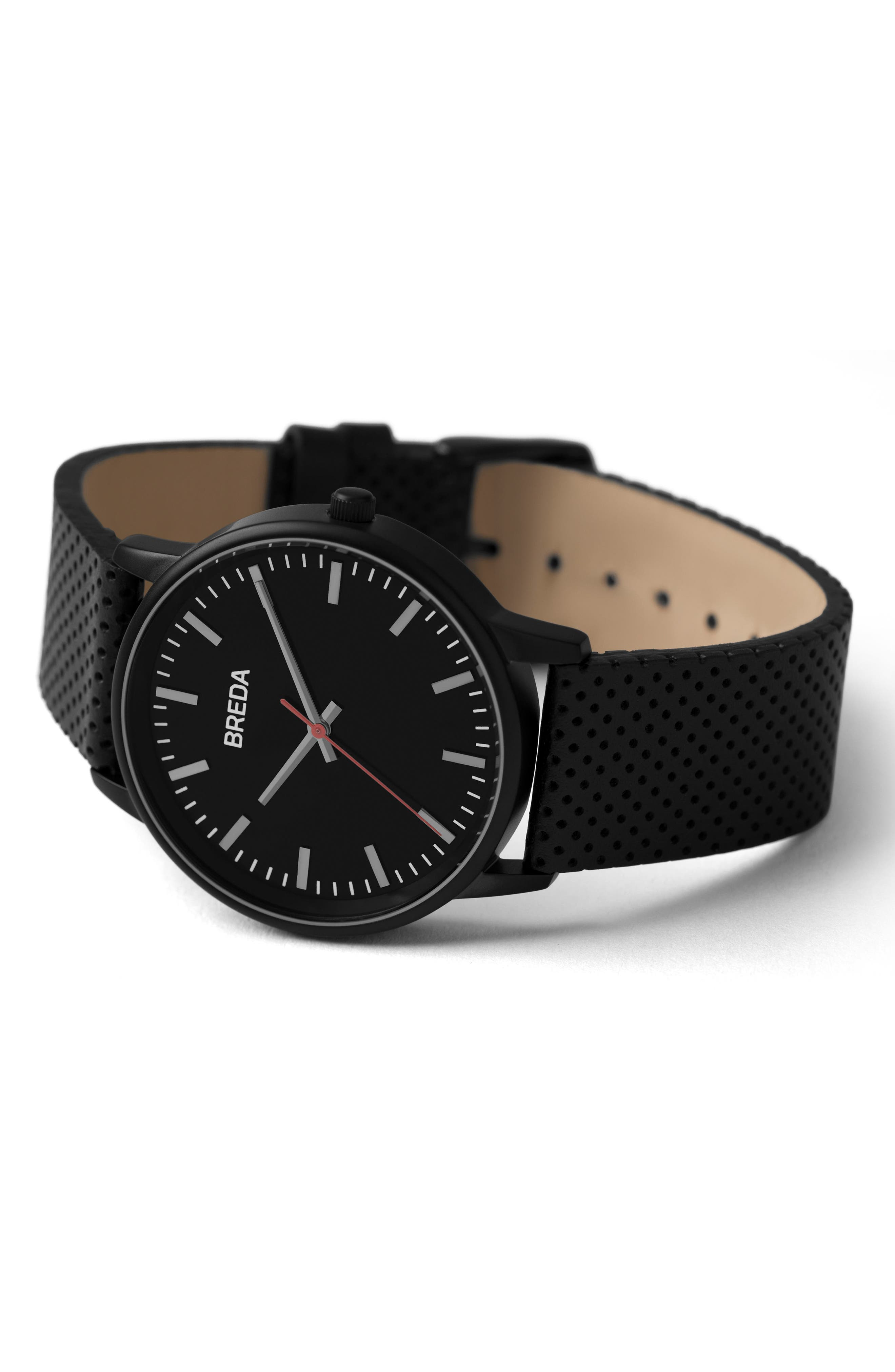 Alternate Image 2  - BREDA Zapf Round Perforated Leather Strap Watch, 39mm