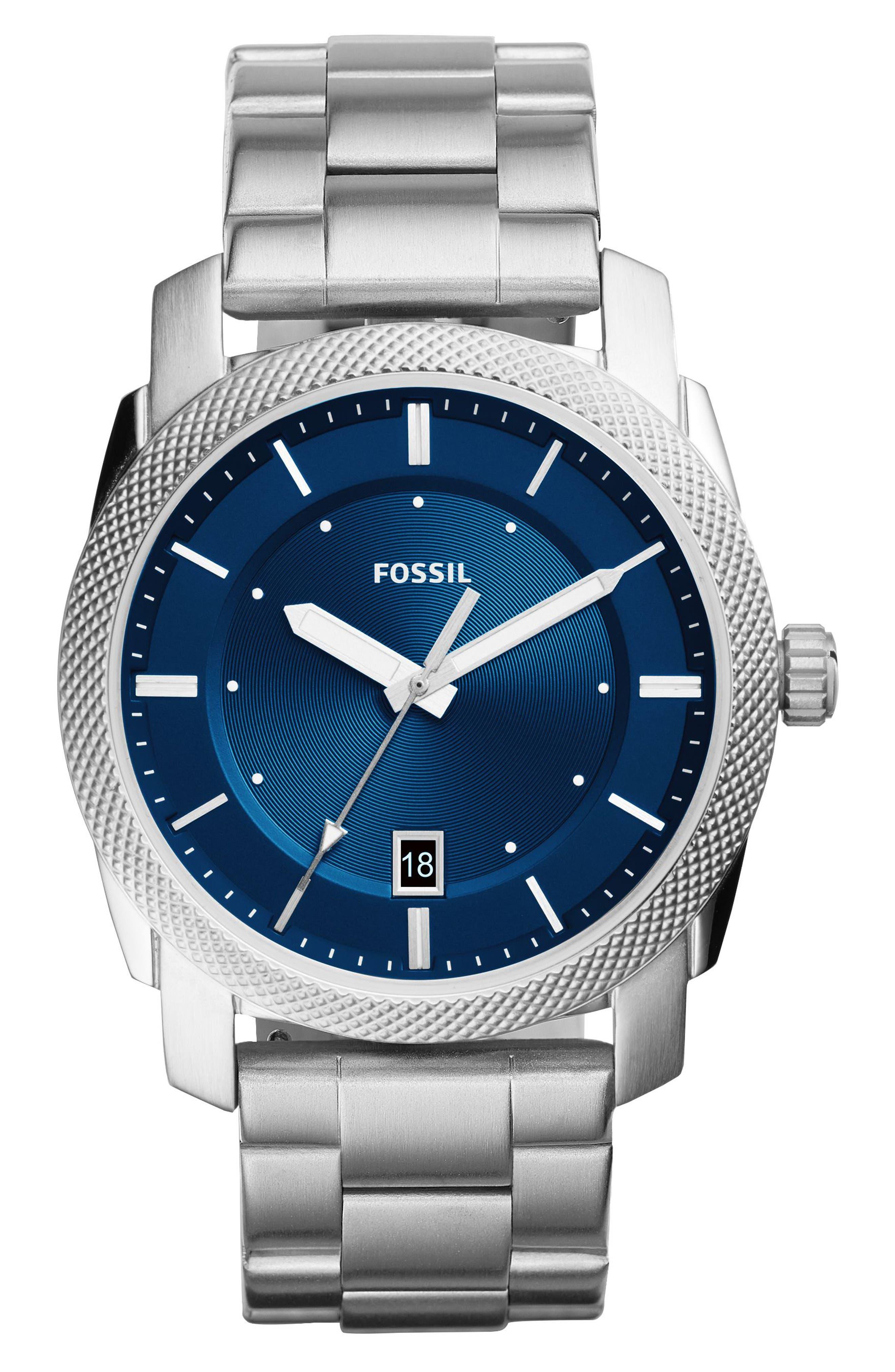 Machine Bracelet Watch, 42mm,                         Main,                         color, Silver/ Blue/ Silver