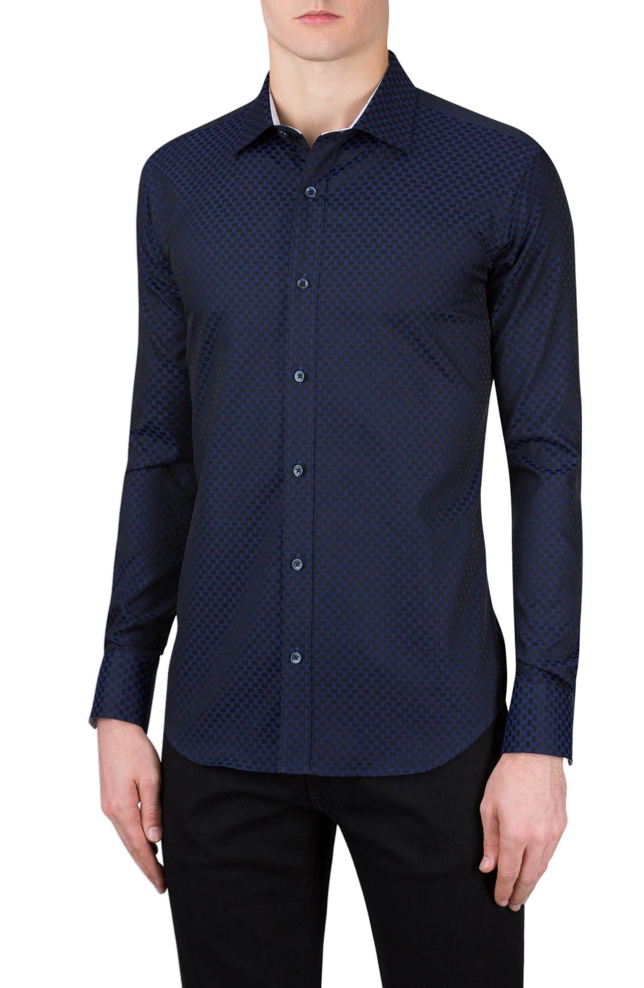 Bugatchi Shaped Fit Rectangle Jacquard Sport Shirt