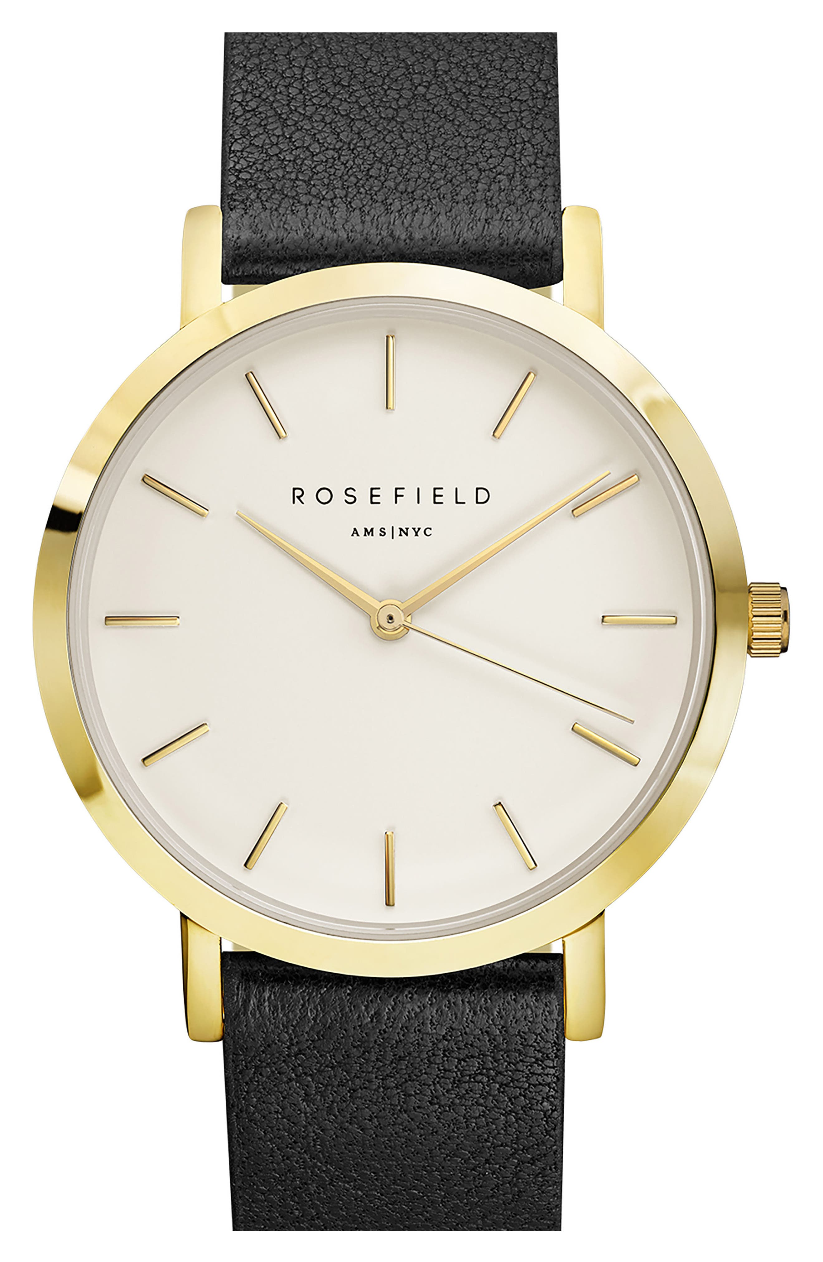 ROSEFIELD Gramercy Leather Strap Watch, 38mm