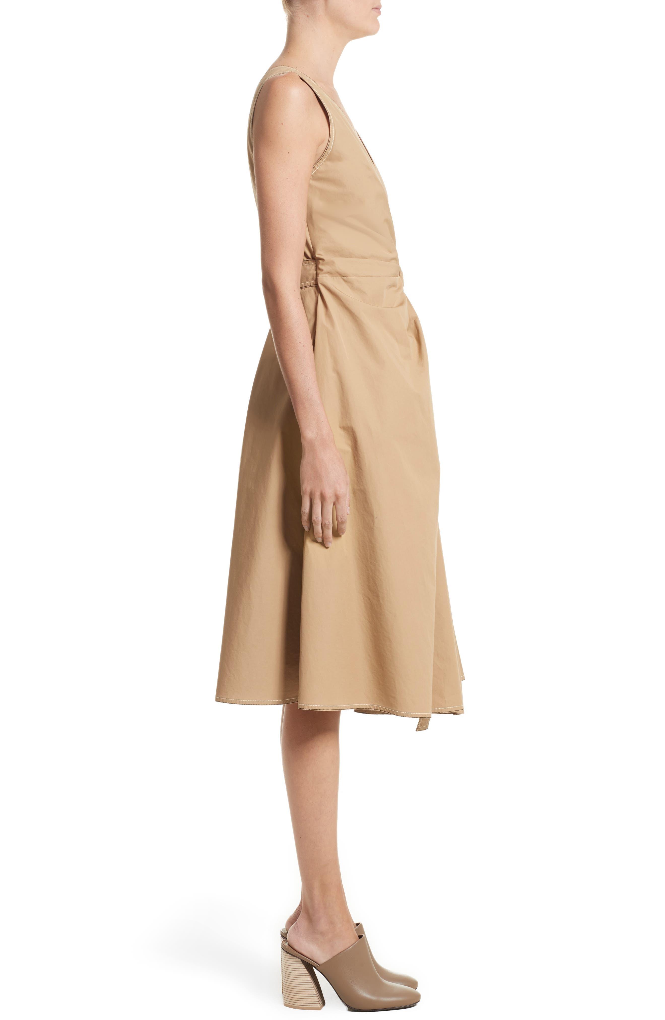 Pleated Wrap Dress,                             Alternate thumbnail 3, color,                             Camel