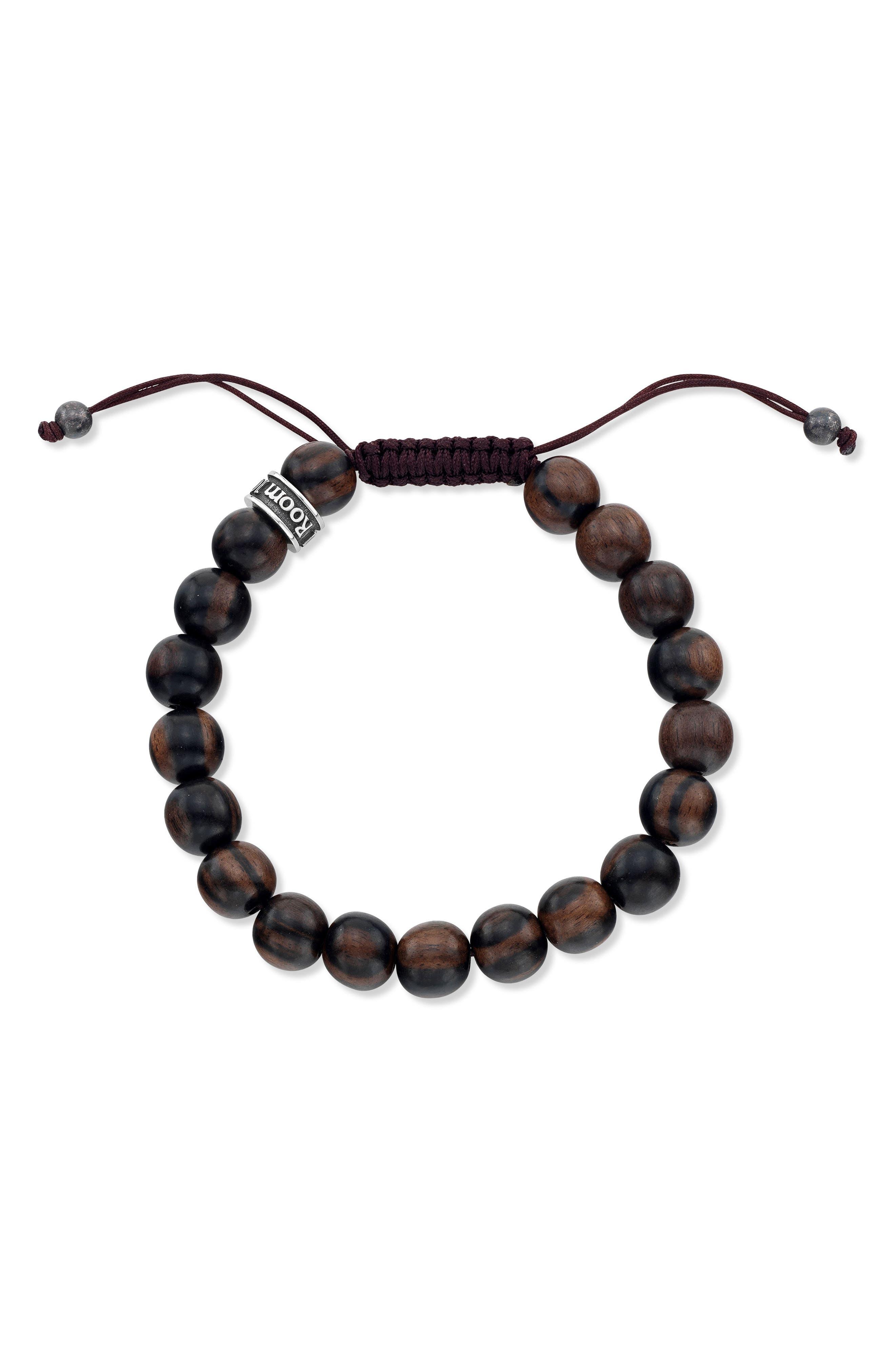 Wood Bead Shamballa Bracelet,                         Main,                         color, Brown