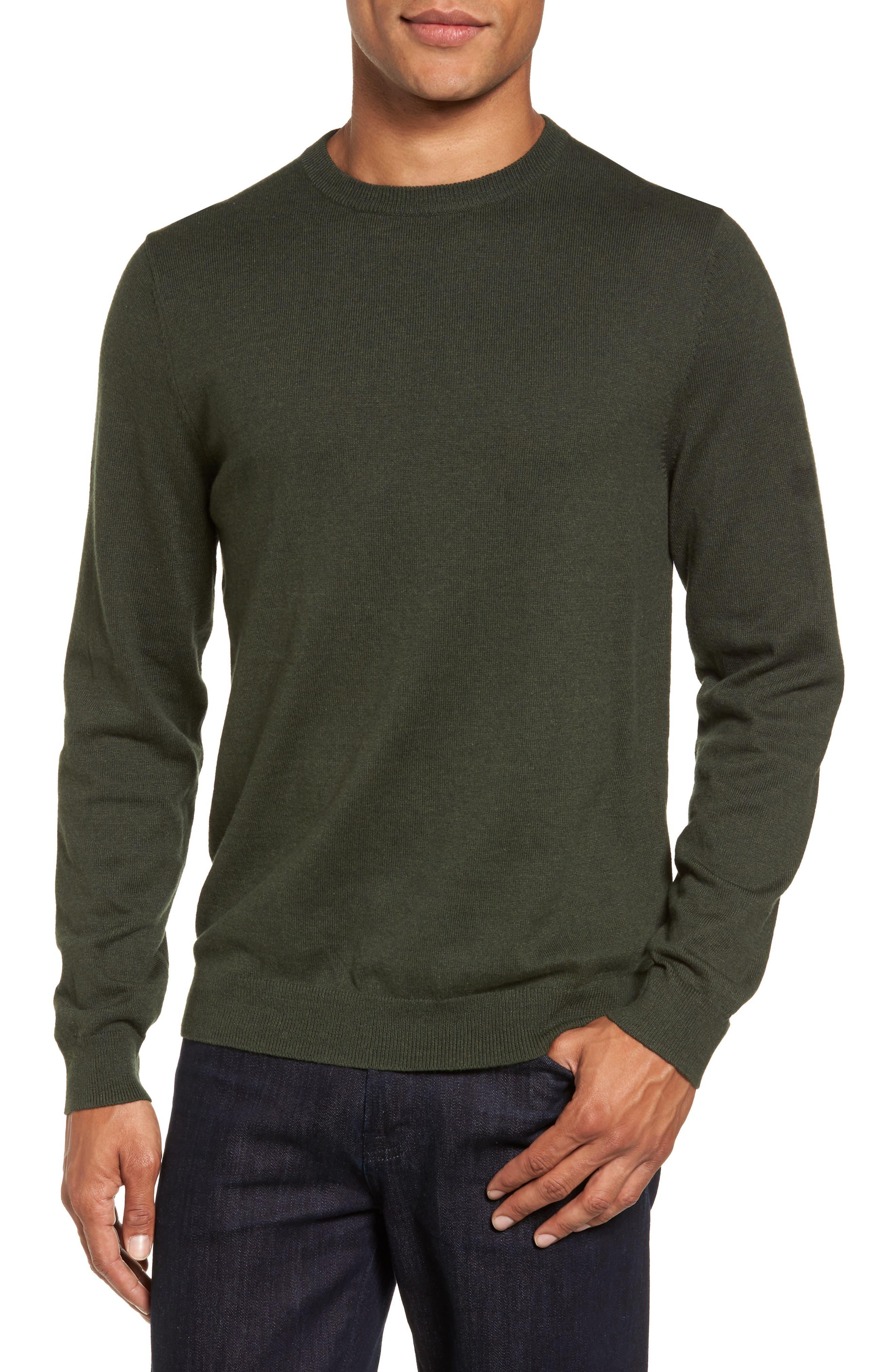 Cotton & Cashmere Crewneck Sweater,                             Main thumbnail 1, color,                             Green Deep Pine
