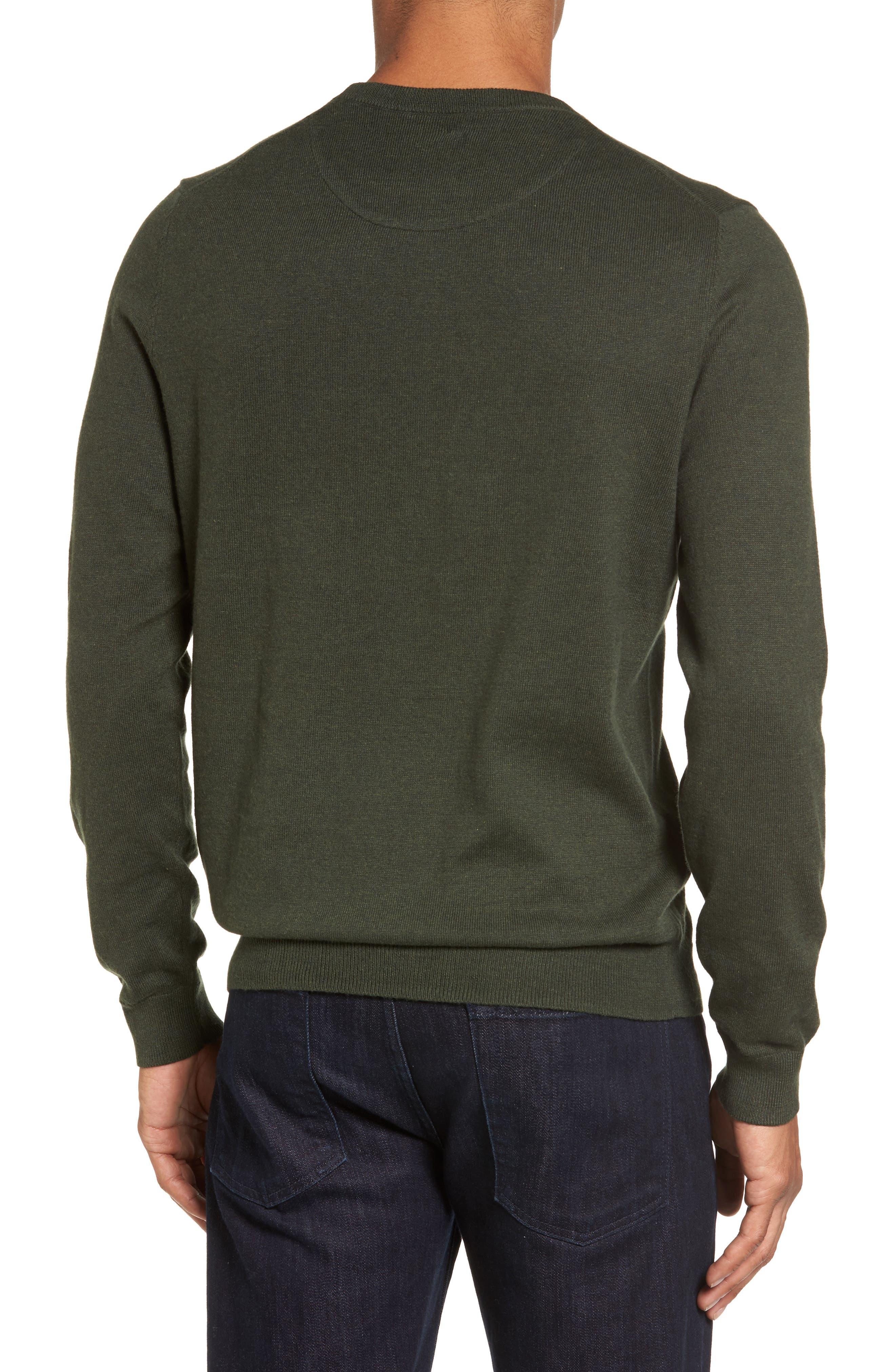 Cotton & Cashmere Crewneck Sweater,                             Alternate thumbnail 2, color,                             Green Deep Pine