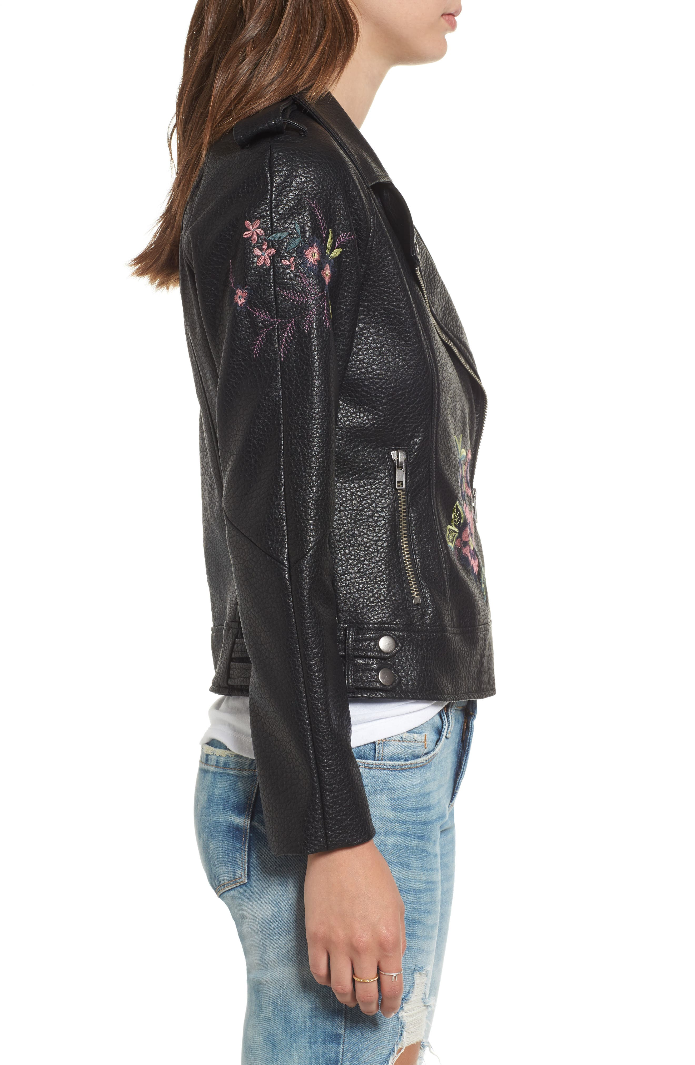 Baxley Embroidered Faux Leather Moto Jacket,                             Alternate thumbnail 3, color,                             Black
