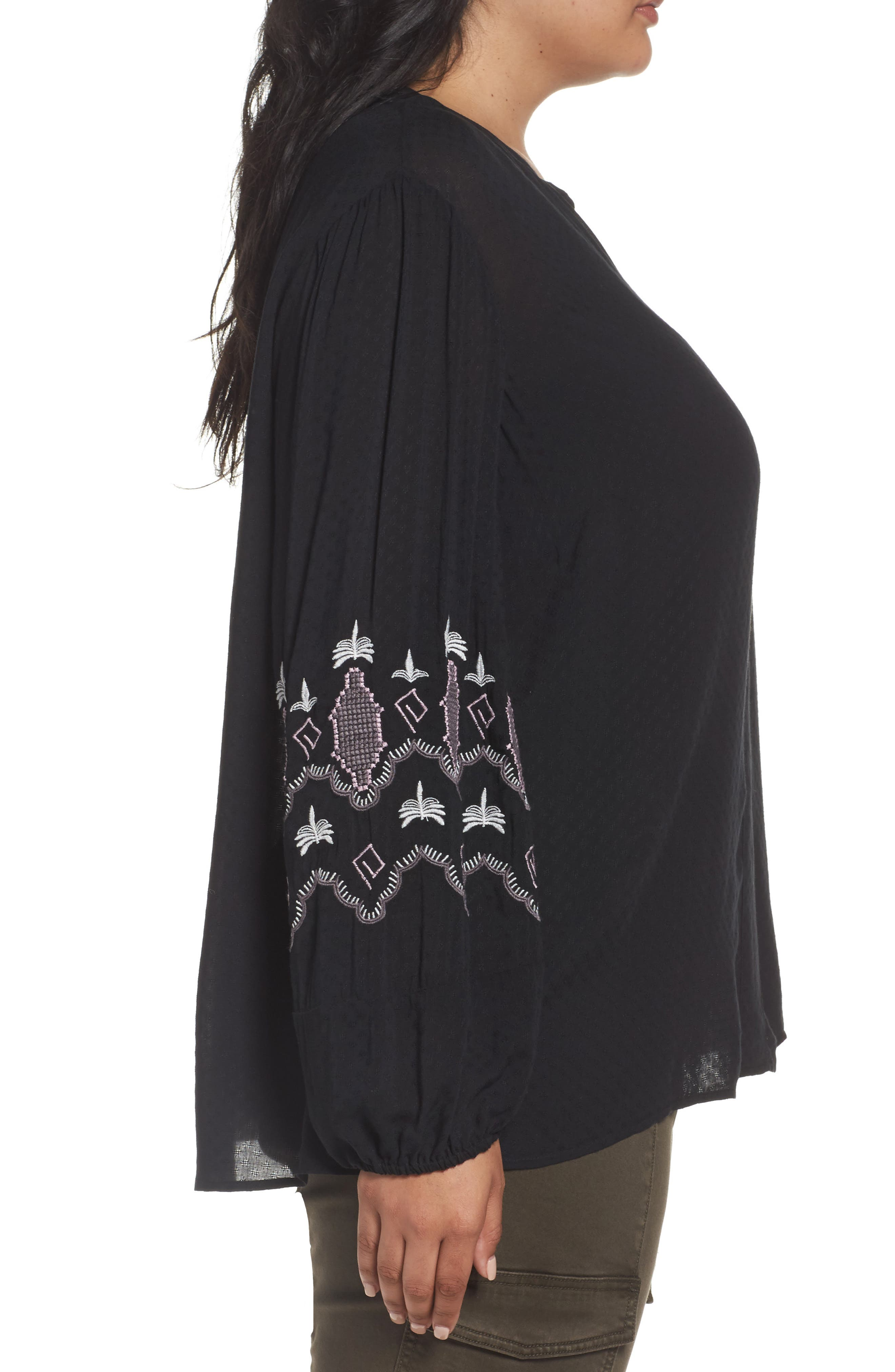 Embroidered Blouse,                             Alternate thumbnail 3, color,                             Black- Purple Embroidery
