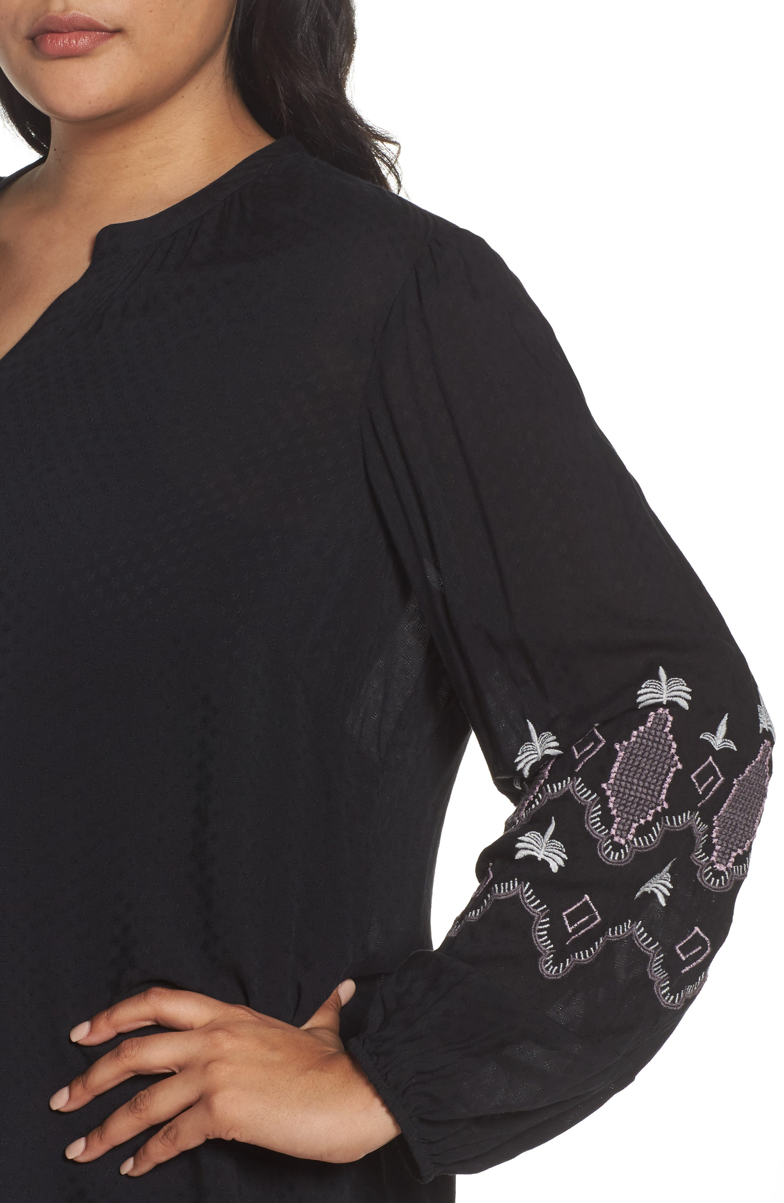 Embroidered Blouse,                             Alternate thumbnail 4, color,                             Black- Purple Embroidery