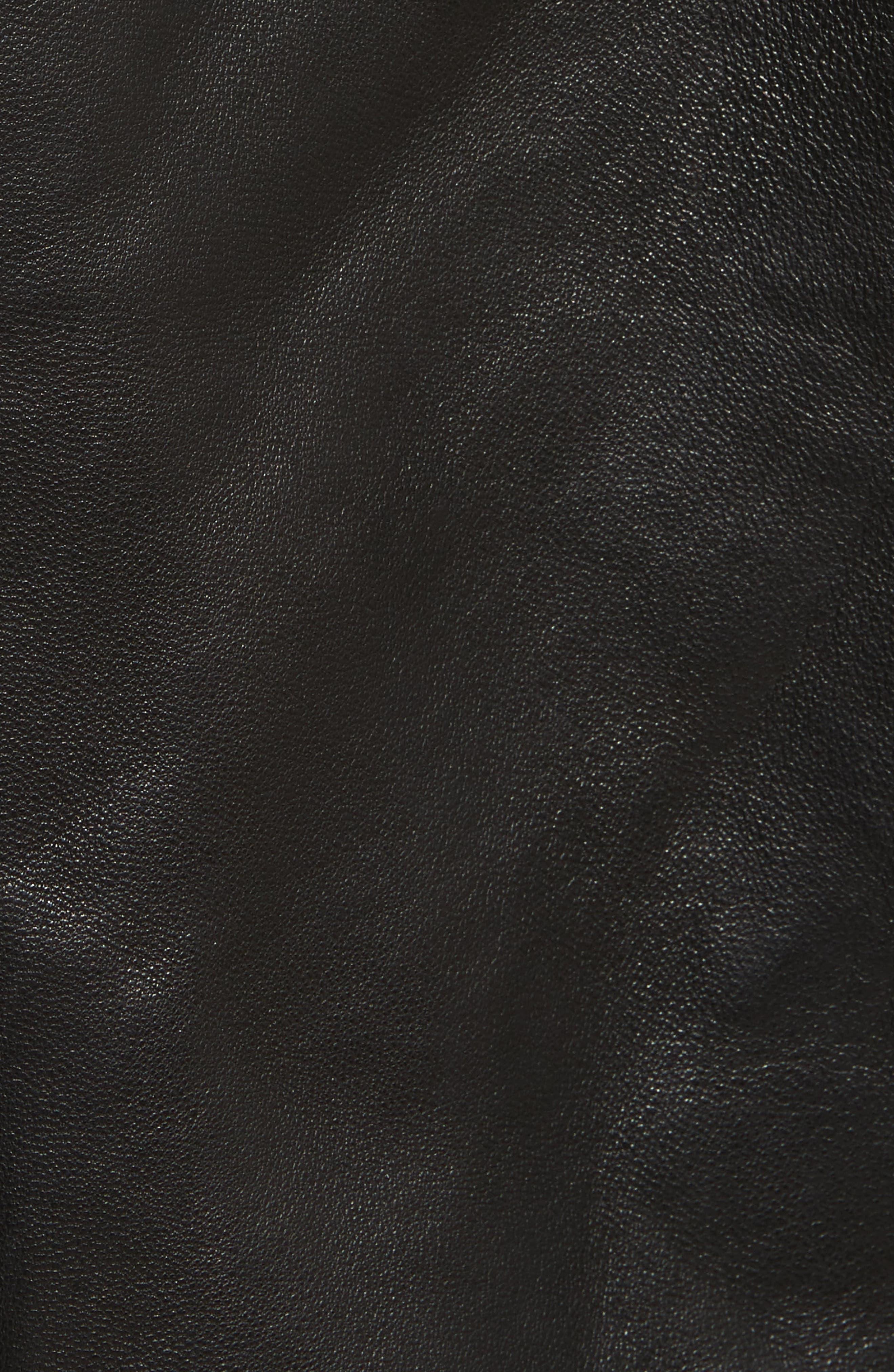 Dumont Leather Jacket,                             Alternate thumbnail 5, color,                             Black